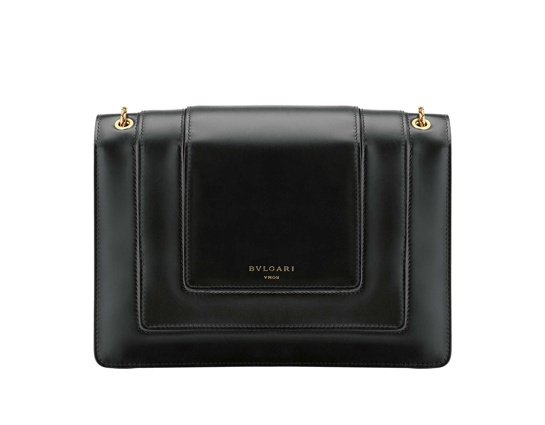 Alexander Wang x Bvlgari Triplette shoulder bag in smooth black calf leather. New triple Serpenti head closure in antique gold plated brass with tempting red enamel eyes. Limited edition. SFW-001-1003M image 3