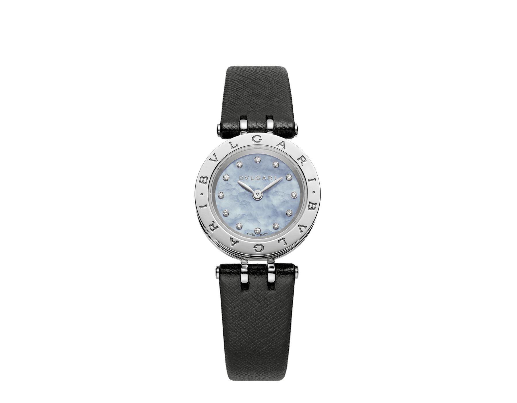 B.zero1 watch with stainless steel case, blue mother-of-pearl dial set with diamond indexes and black calf leather bracelet. 102472 image 1