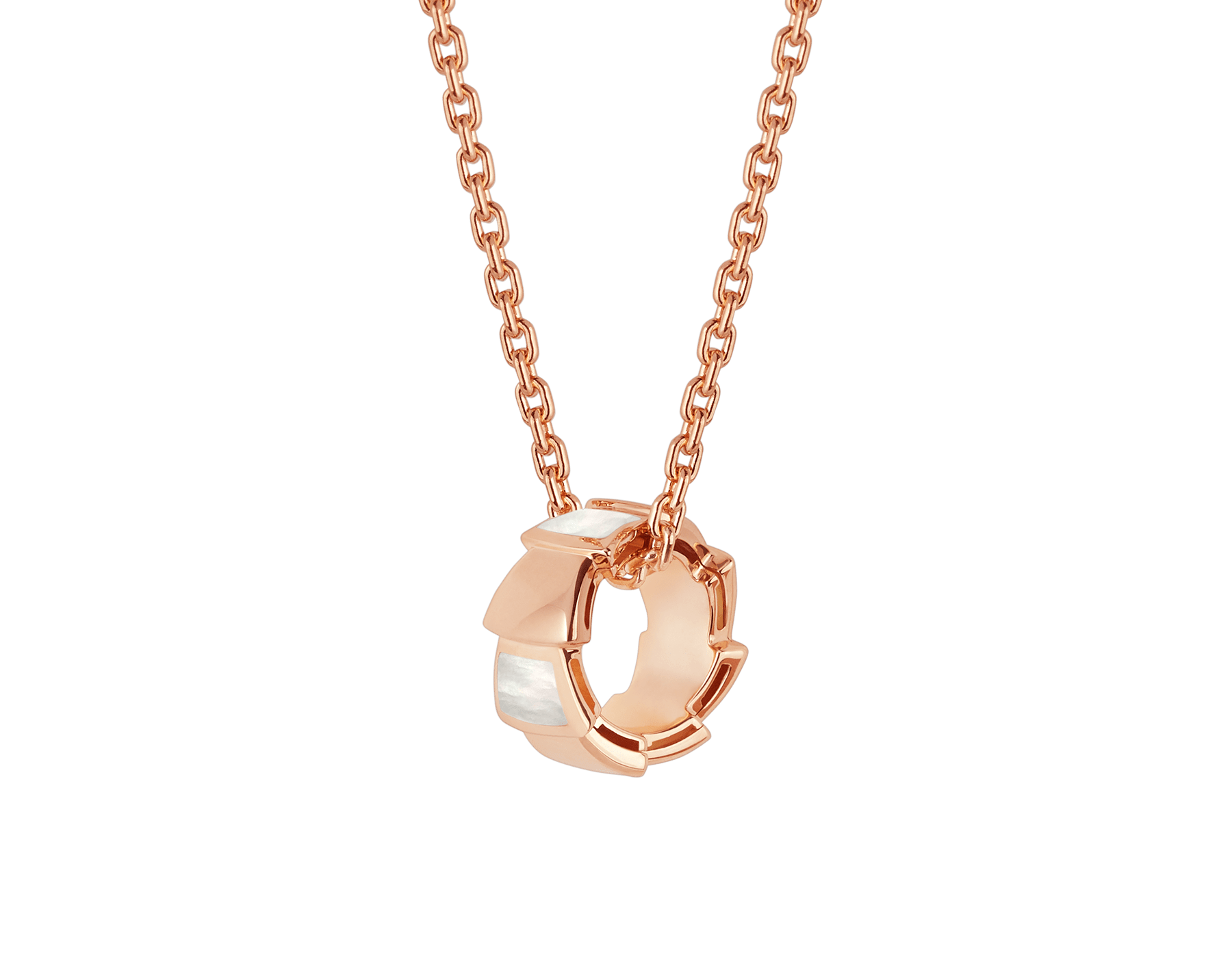 Serpenti Viper 18 kt rose gold necklace with pendant set with mother-of-pearl elements 355795 image 1