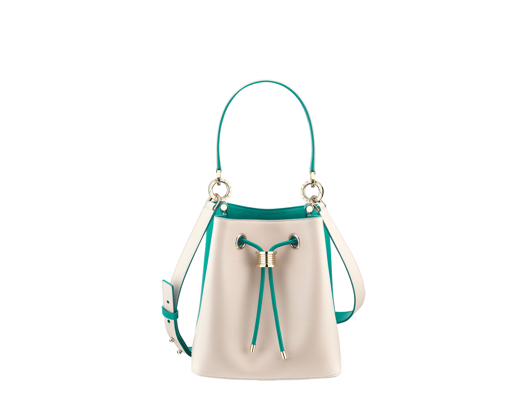 Bucket B.zero1 in milky opal and tropical turquoise smooth calf leather and tropical turquoise nappa lining. Hardware in light gold-plated brass, featuring a B.zero1 décor. 288209 image 1