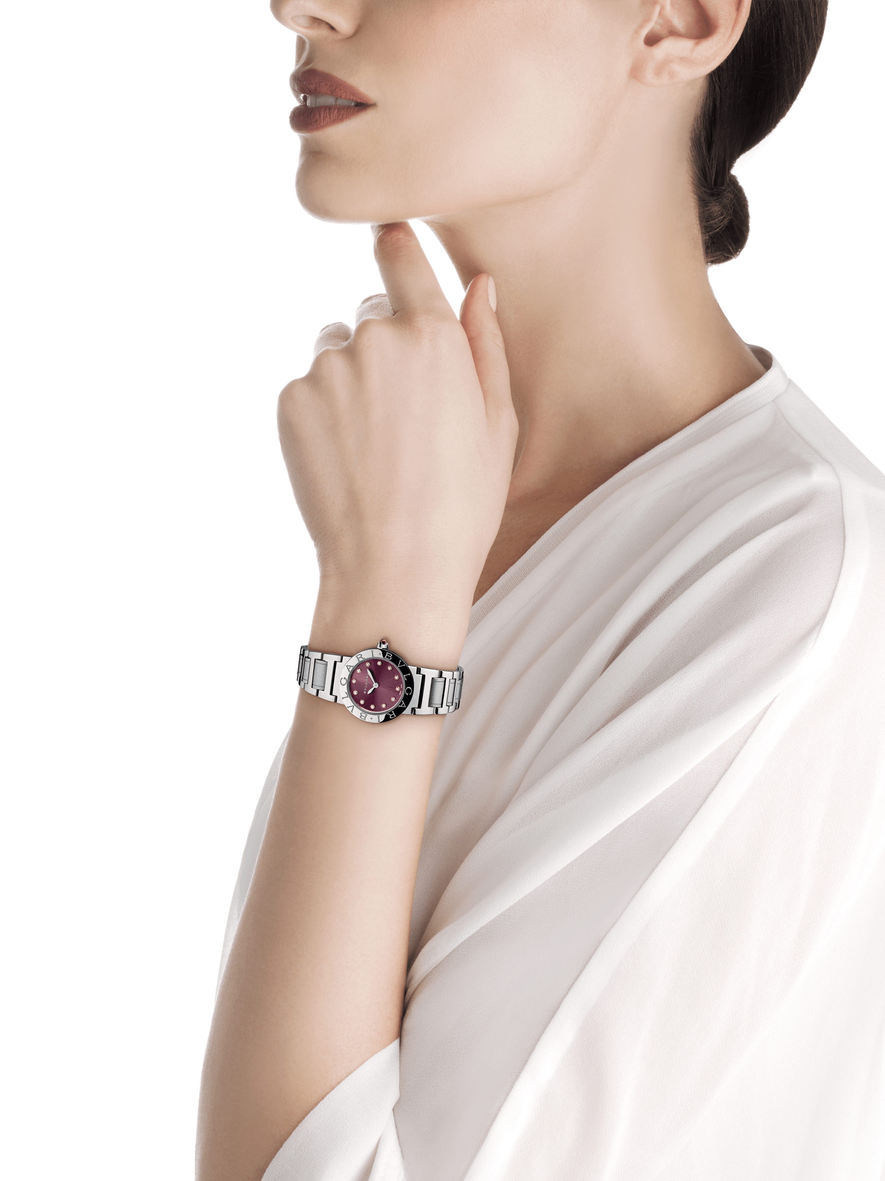 BVLGARI BVLGARI watch in stainless steel case and bracelet, with purple satiné soleil lacquered dial and diamond indexes 102606 image 4