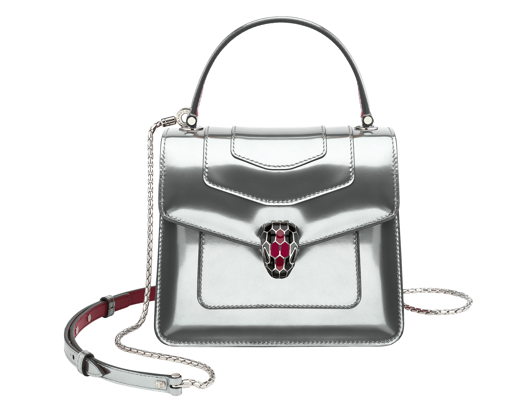 """Serpenti Forever"" crossbody bag in silver brushed metallic calf leather body and jazzy tourmaline calf leather sides. Iconic snakehead closure in palladium plated brass enriched with black and jazzy tourmaline enamel and black onyx eyes. 287122 image 1"