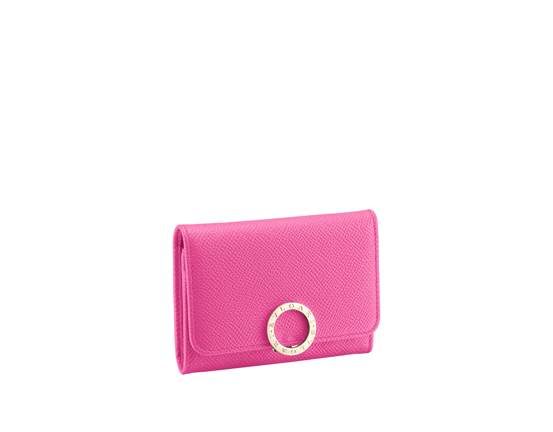 BVLGARI BVLGARI business card holder in carmine jasper grain calf leather and jazzy tourmaline nappa leather. Iconic logo closure clip in light gold plated brass 579-BC-HOLDER-BGCLb image 1
