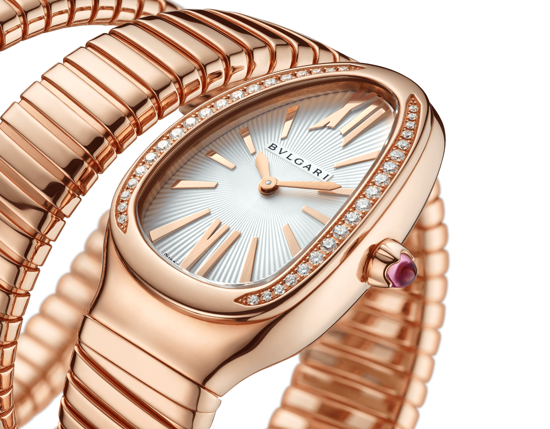 Serpenti Tubogas double spiral watch with 18 kt rose gold case set with brilliant-cut diamonds, silver opaline dial and 18 kt rose gold bracelet 103002 image 3