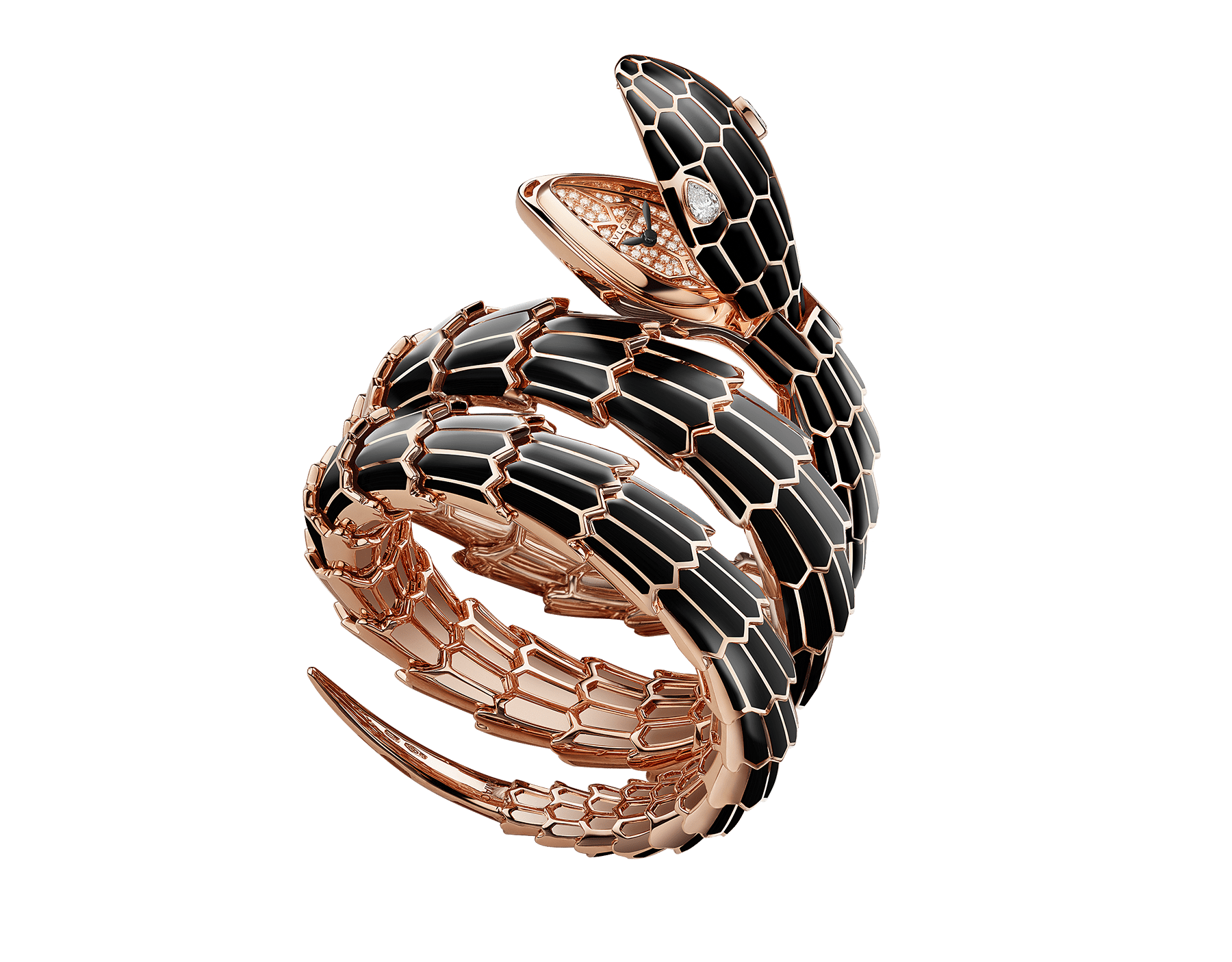 Serpenti Secret Watch with 18 kt rose gold head and double spiral bracelet, both coated with black lacquer, diamond eyes, 18 kt rose gold case and 18 kt rose gold dial set with brilliant cut diamonds. 102524 image 1