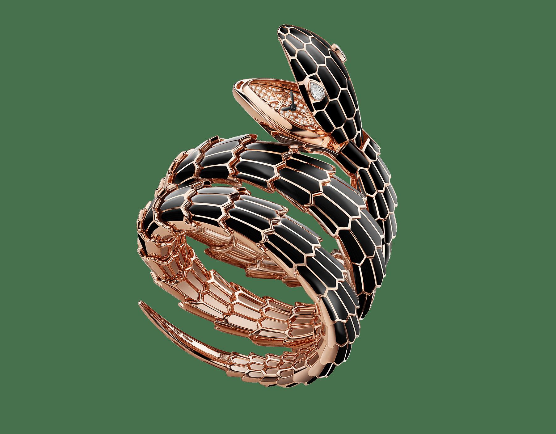 Orologio Serpenti Secret con testa e bracciale a doppia spirale in oro rosa 18 kt e smalto nero, occhi con diamanti, cassa in oro rosa 18 kt, quadrante in oro rosa 18 kt con diamanti taglio brillante. 102524 image 1