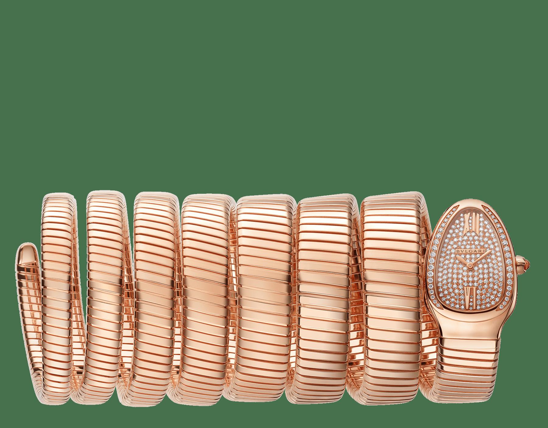 Serpenti Tubogas 七圈螺旋腕錶,18K 玫瑰金錶殼鑲飾明亮型切割鑽石,18K 玫瑰金錶盤鑲飾全密鑲明亮型切割鑽石,18K 玫瑰金錶帶。 101938 image 1