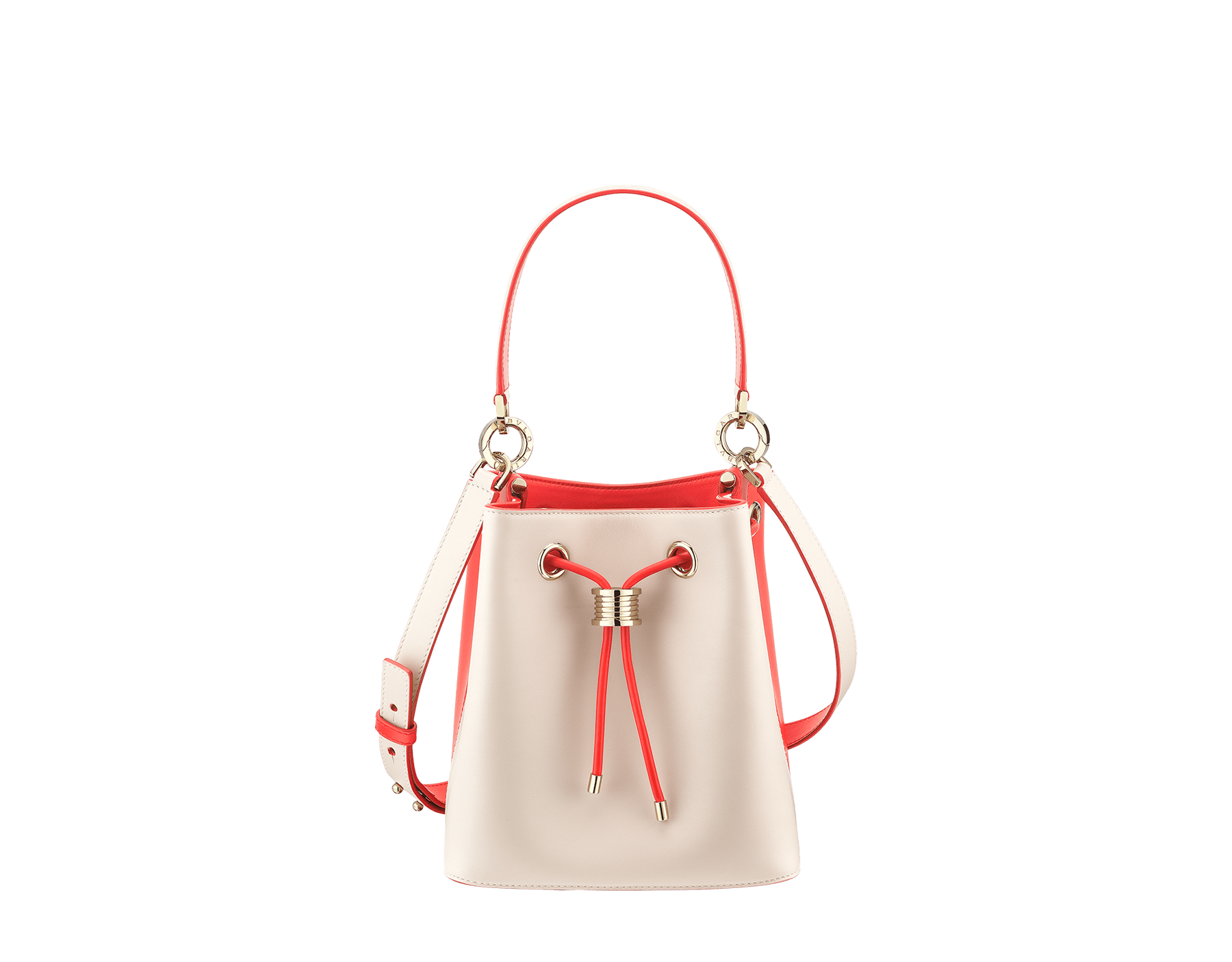 Bucket B.zero1 in milky opal and sea star coral smooth calf leather and sea star coral nappa internal lining. Hardware in light gold plated brass, featuring a B.zero1 décor. 288208 image 1