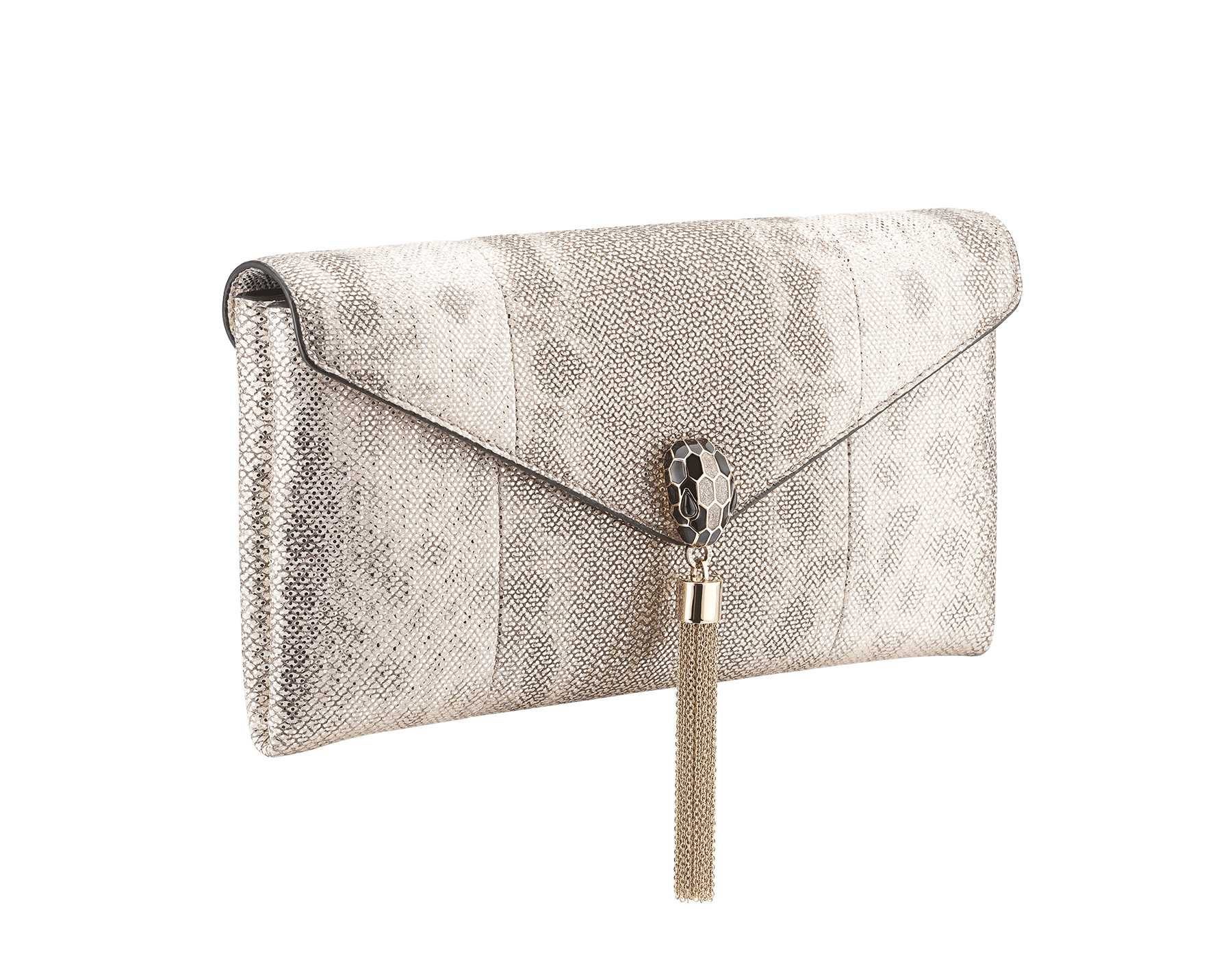 Serpenti evening clutch in milky opal metallic karung skin. Snakehead stud closure with tassel in light gold plated brass and top decorated with black and glitter milky opal enamel, and black onyx eyes. 526-001-0817S-MK image 2