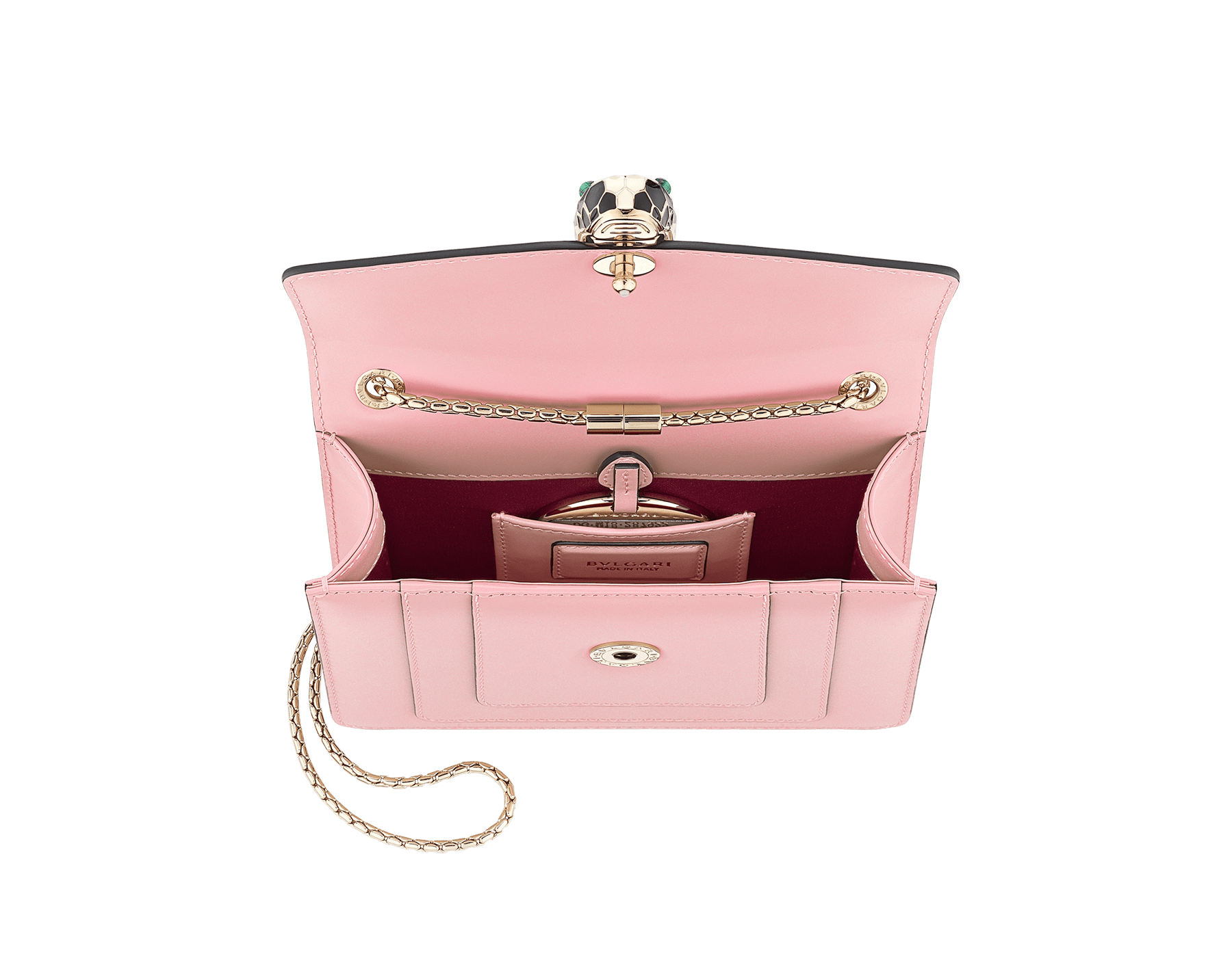 Serpenti Forever crossbody bag in sea star coral smooth calf leather. Snakehead closure in light gold plated brass decorated with black and white enamel, and green malachite eyes. 422-CLb image 4