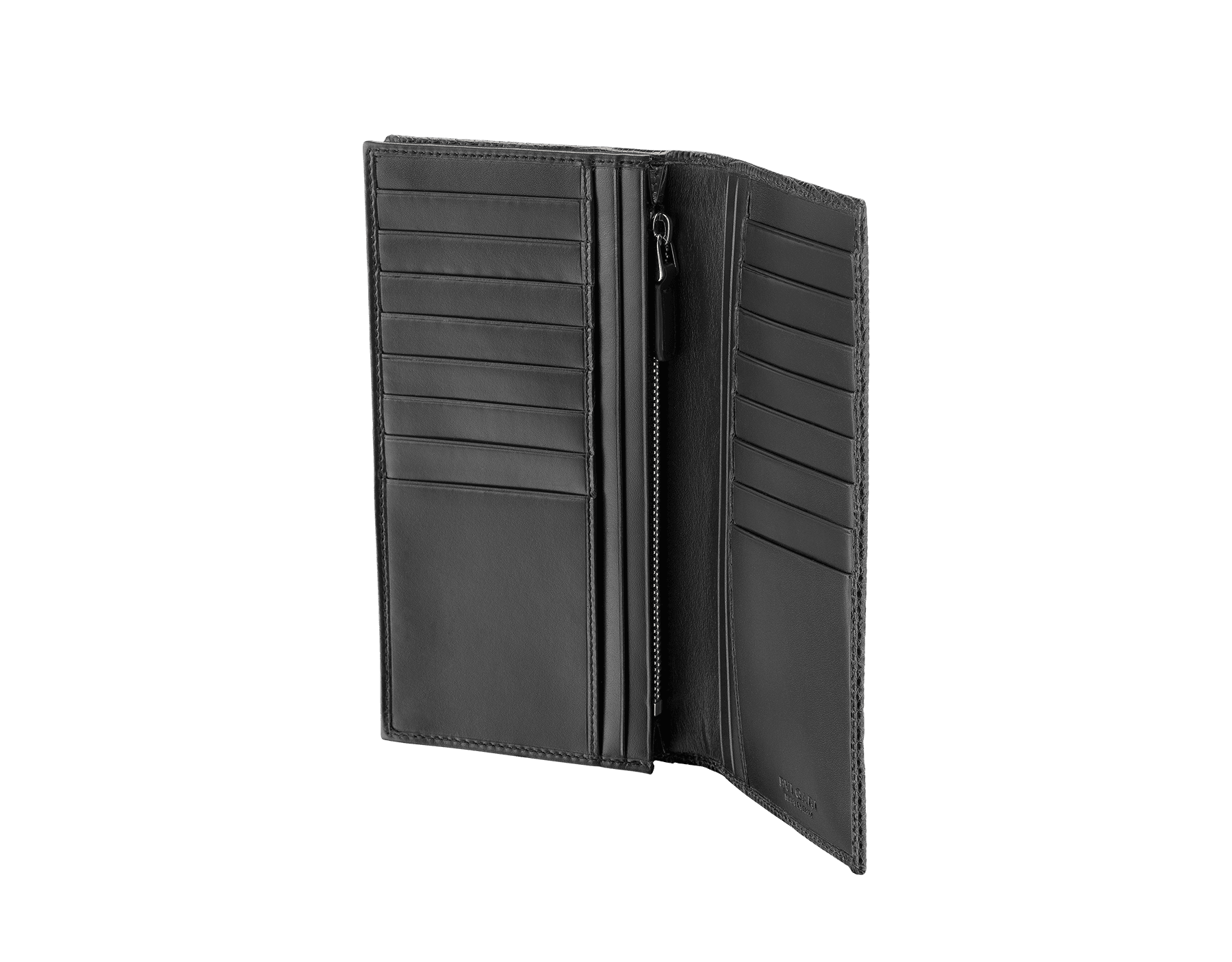 デニムサファイアのシャイニーリザードスキンとカーフレザー製の財布。ブラスパラジウムプレートの金具とアイコニックな「ブルガリ・ブルガリ」モチーフ。 BBM-WLT-Y-ZP-16C-sl image 2