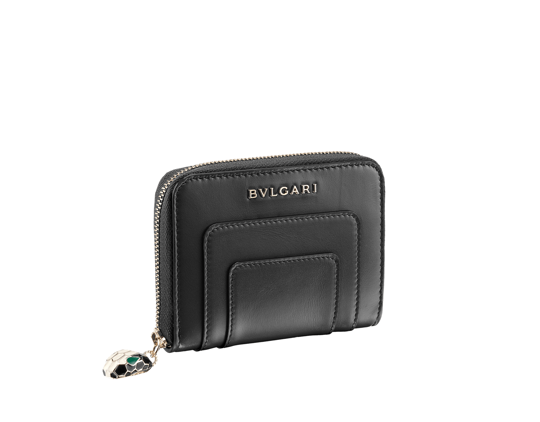 Mini zipped Wallet in black and emerald green calf leather with malachite nappa lining. Brass light gold plated hardware. 280375 image 1