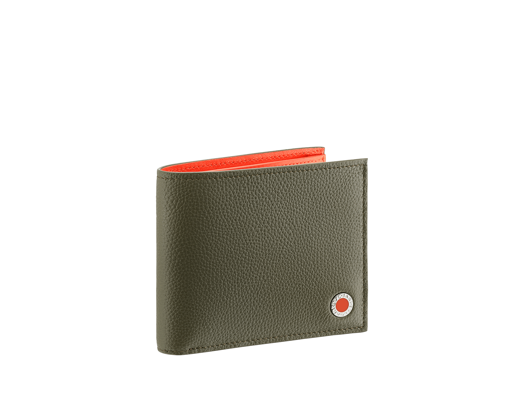 """BVLGARI BVLGARI"" hipster compact wallet in mimetic jade soft full grain calf leather and fire amber calf leather. Iconic logo decoration in palladium plated brass coloured in fire amber enamel. 290077 image 1"
