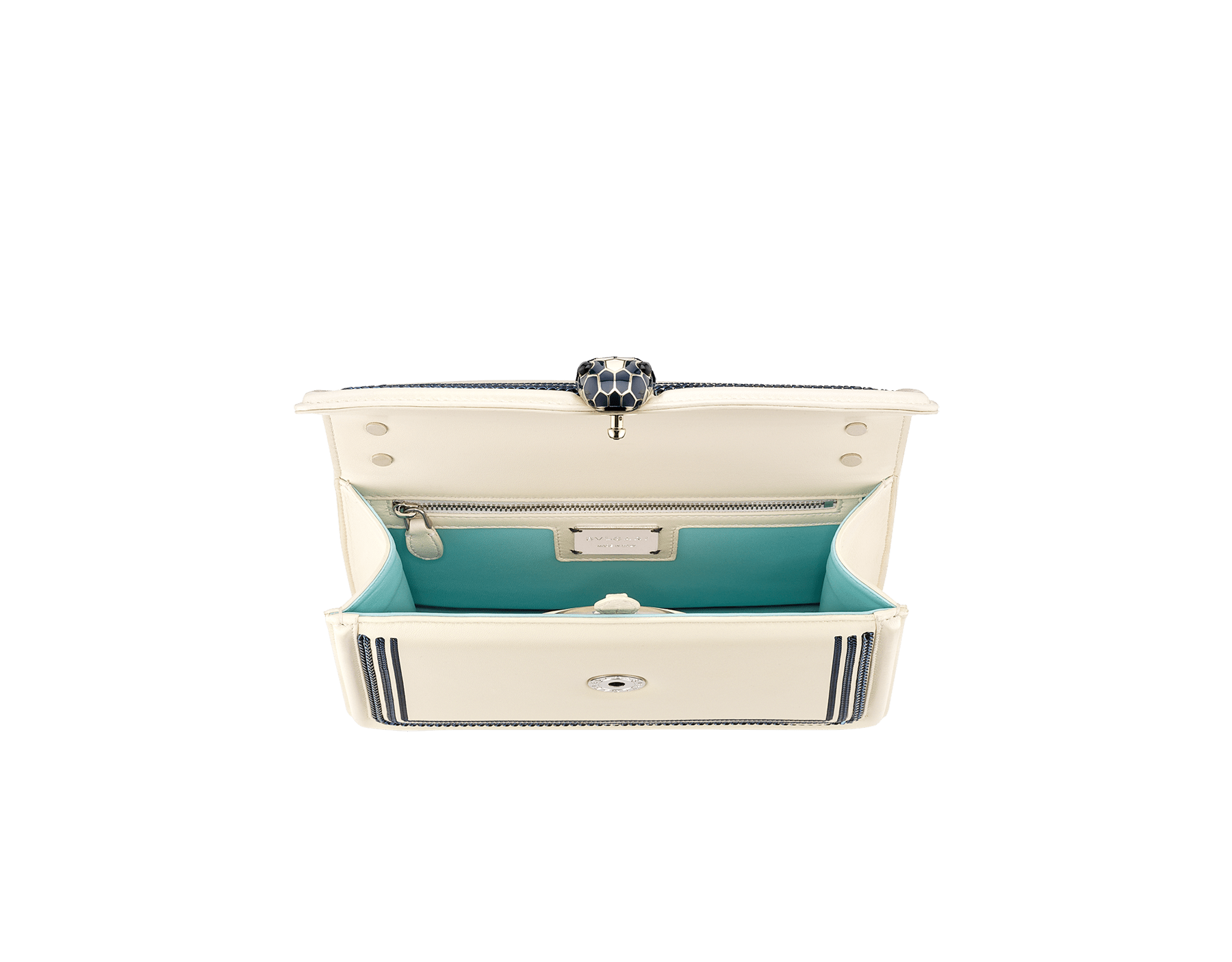 """""""Serpenti Diamond Blast"""" shoulder bag in Ivory Opal white smooth calf leather, featuring a Teal Topaz green 3-Maxi Chain motif, and an Aquamarine light blue nappa leather internal lining. Tempting snakehead closure in palladium-plated brass, embellished with Teal Topaz green and Ivory Opal white enamel, and black onyx eyes. 291173 image 8"""