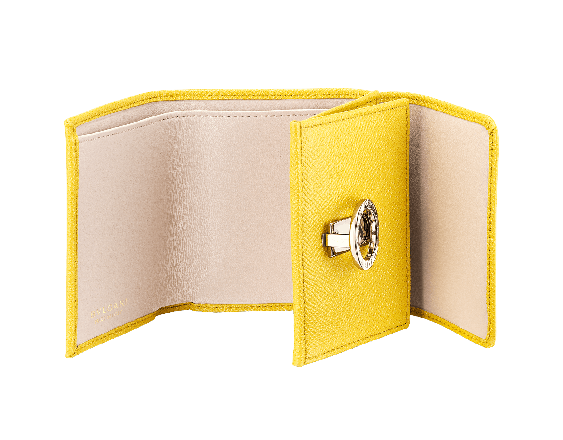 BVLGARI BVLGARI compact wallet in daisy topaz bright grain calf leather and crystal rose nappa leather. Iconic logo clip closure in light gold plated brass on the flap and a press stud closure on the body. 289768 image 2