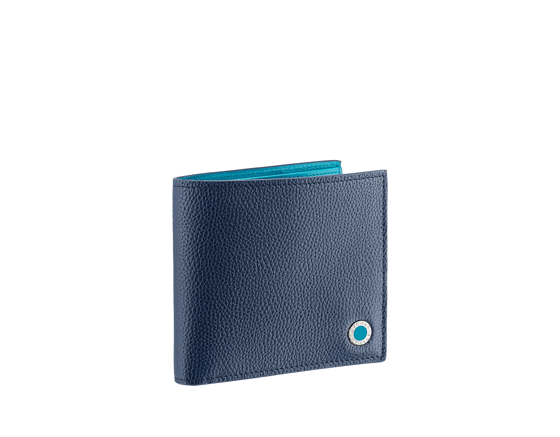 """""""BVLGARI BVLGARI"""" compact wallet in mimetic jade soft full grain calf leather and fire amber calf leather. Iconic logo decoration in palladium plated brass coloured in fire amber enamel. BBM-WLT-ITAL-sgcl image 1"""