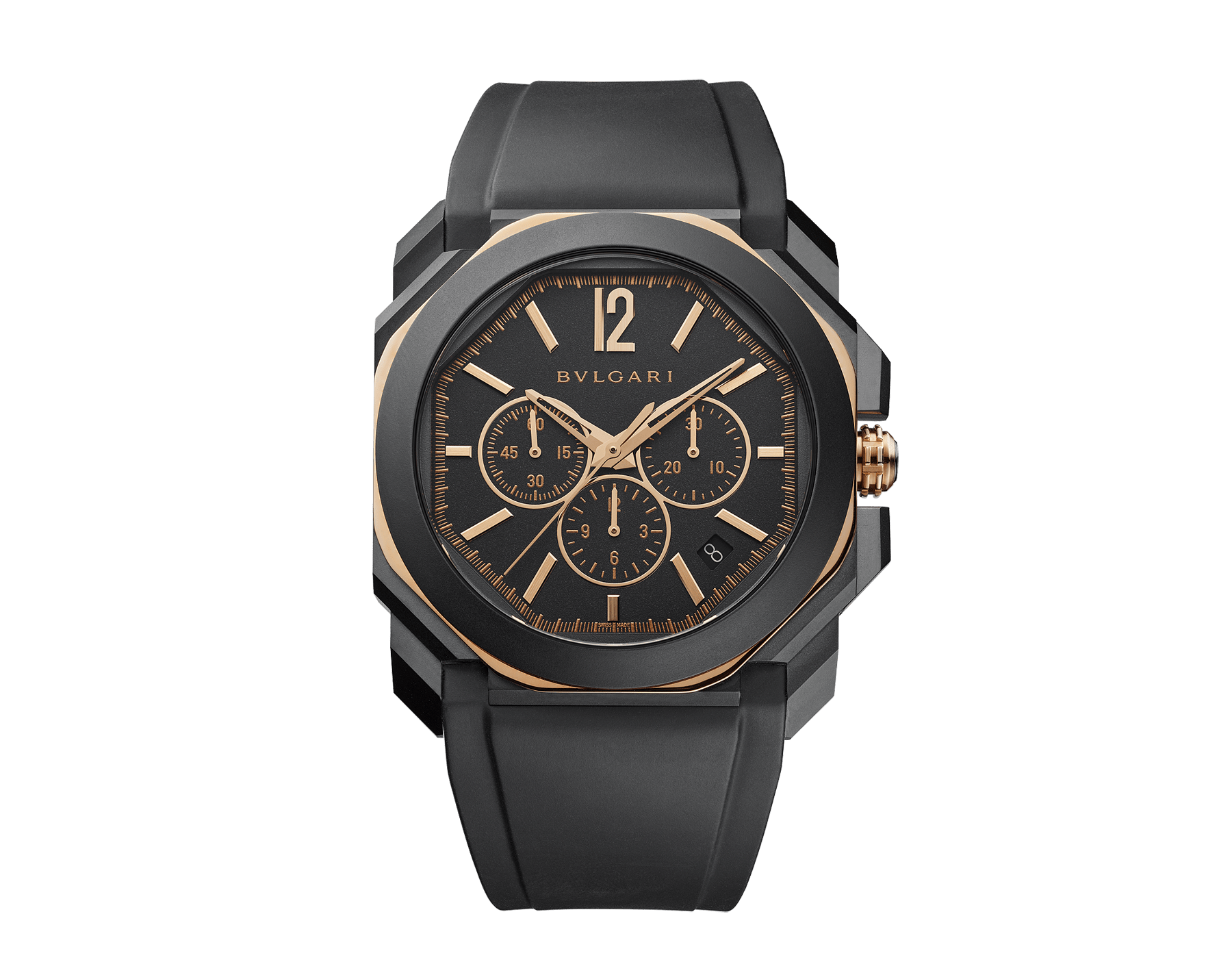 Octo L'Originale watch with mechanical manufacture high-frequency chronograph, silicon escapement, automatic winding and date, sandblasted stainless steel case treated with Diamond Like Carbon, 18 kt rose gold octagon, transparent case back, anthracite dial and black rubber bracelet 103075 image 1