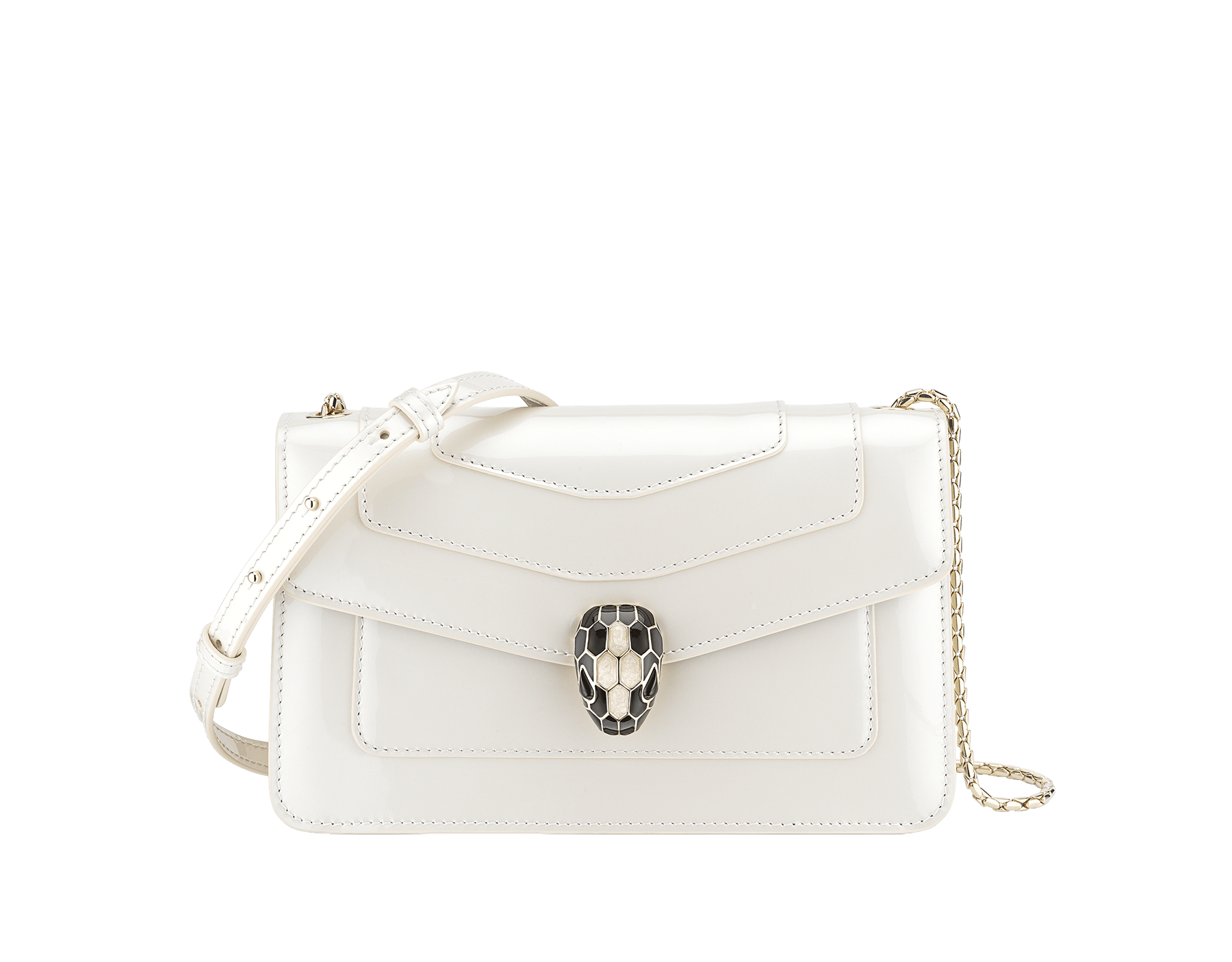 """Serpenti Forever"" crossbody bag in white agate leather with a varnished and pearled effect. Iconic snakehead closure in light gold plated brass enriched with black and pearled white agate enamel and black onyx eyes 290107 image 1"