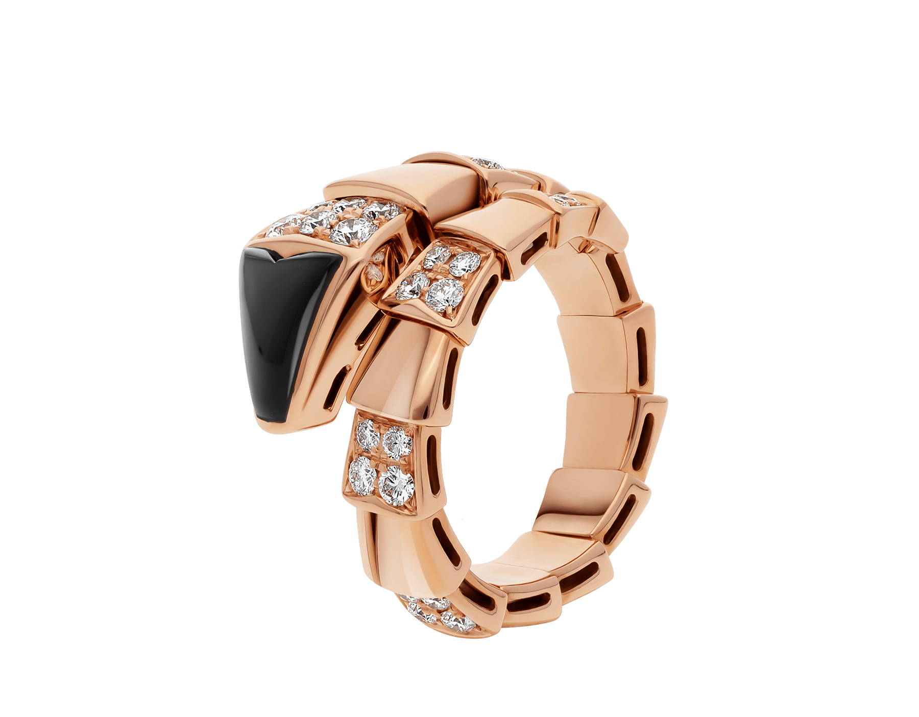 Serpenti one-coil ring in 18 kt rose gold, set with black onyx elements and demi pavé diamonds. AN855315 image 1