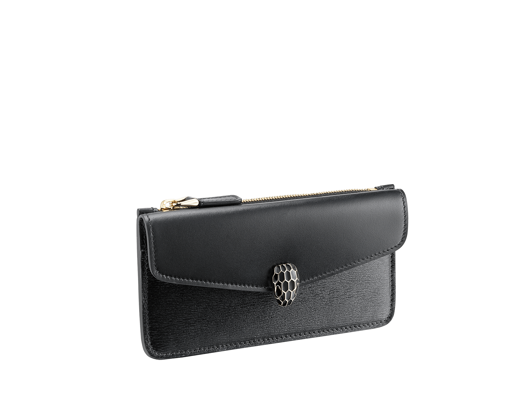 """Serpenti Forever"" card holder with emerald green calf leather flap and emerald green goatskin body. Iconic snakehead stud closure in black and emerald green enamel, with black enamel eyes. SEA-CC-HOLDER-ZIP image 1"