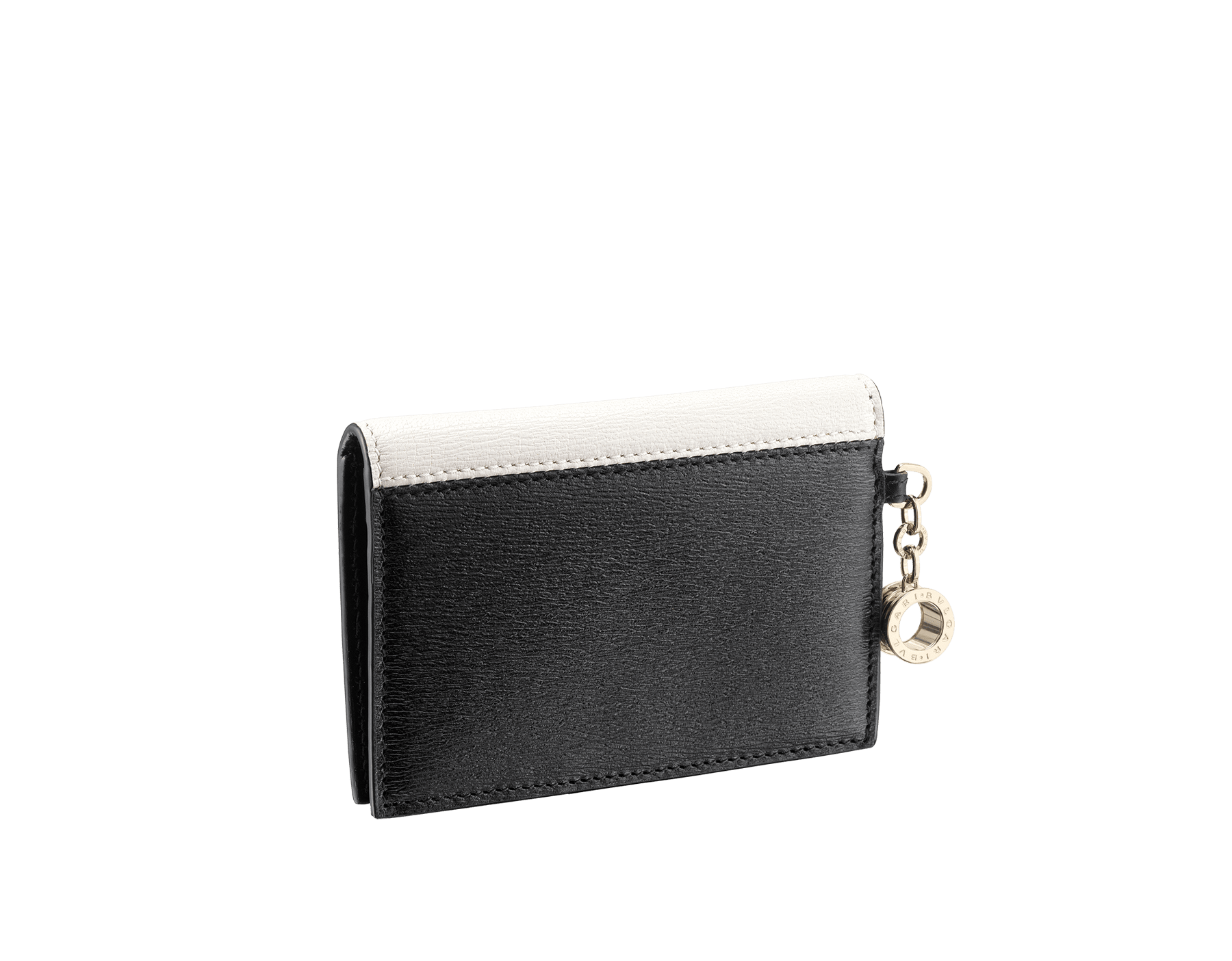 B.zero1 folded credit card holder in black and white goatskin. Iconic B.zero1 charm in light gold-plated brass. 288239 image 3