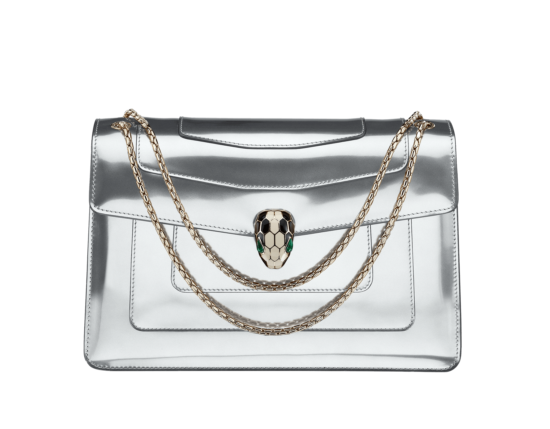 Flap cover bag Serpenti Forever in mirage shiny silver brushed metallic calf leather. Brass light gold plated snake head closure in black and white enamel with eyes in green malachite. 39793 image 1