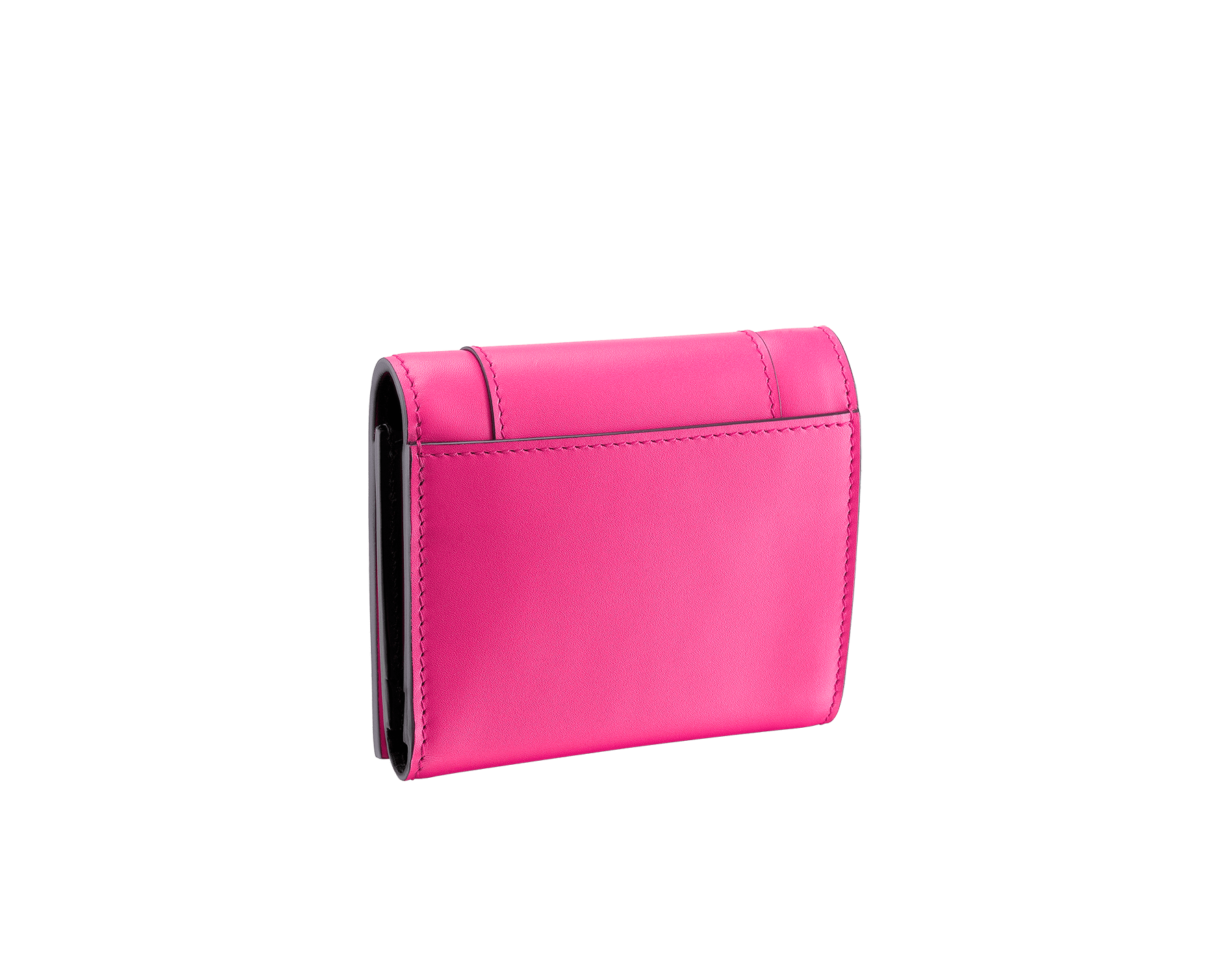 Serpenti Forever super compact wallet in Roman garnet and pink spinel calf leather. Iconic snakehead stud closure in black and white enamel with green malachite enamel eyes. SEA-SUPERCOMPACT-CLa image 3