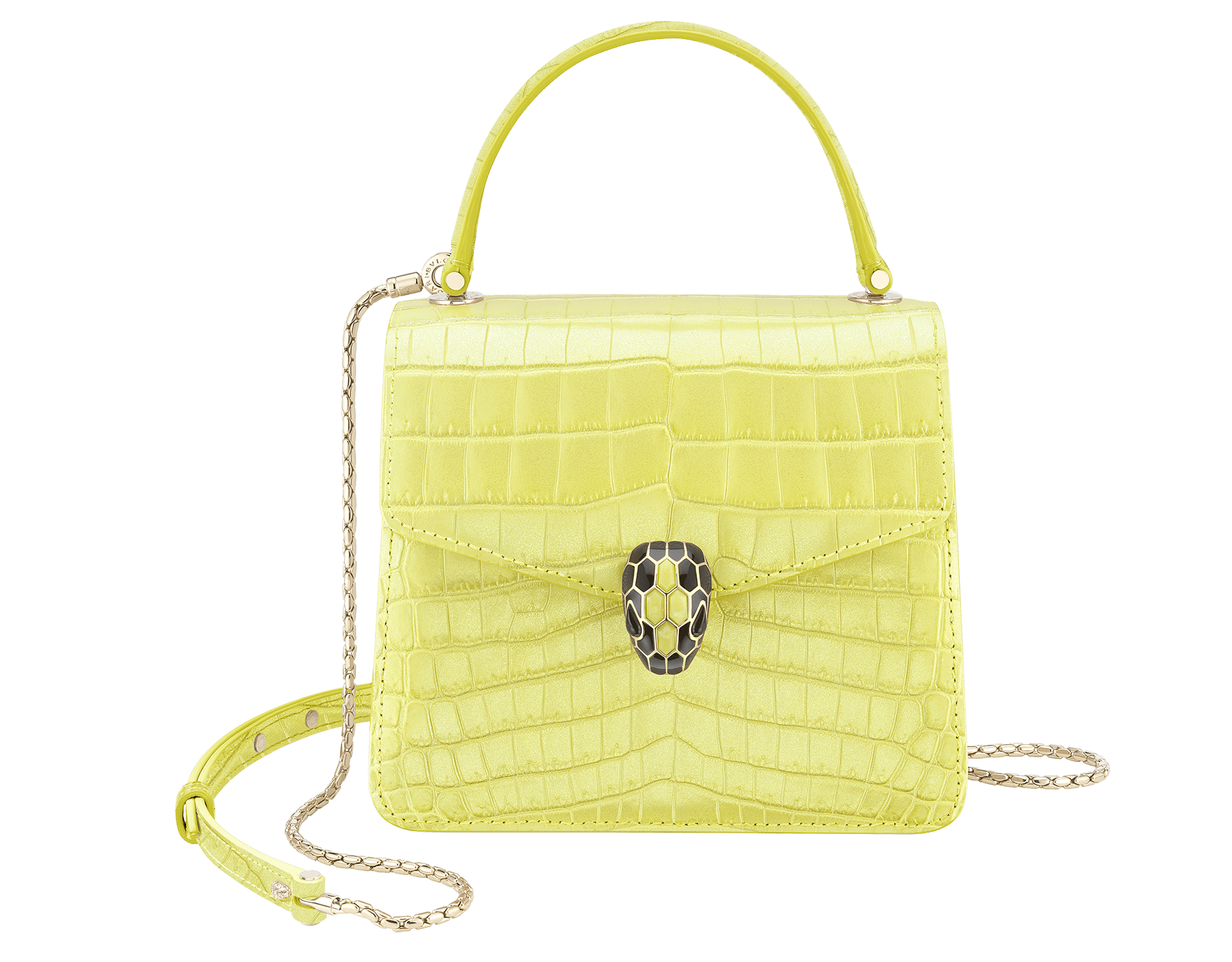 """""""Serpenti Forever"""" crossbody bag in white agate crocodile skin with an iridescent and pearled effect. Iconic snake head closure in light gold plated brass enriched with black enamel and mother-of-pearl scales, and blue lapis lazuli eyes. 752-Cb image 1"""