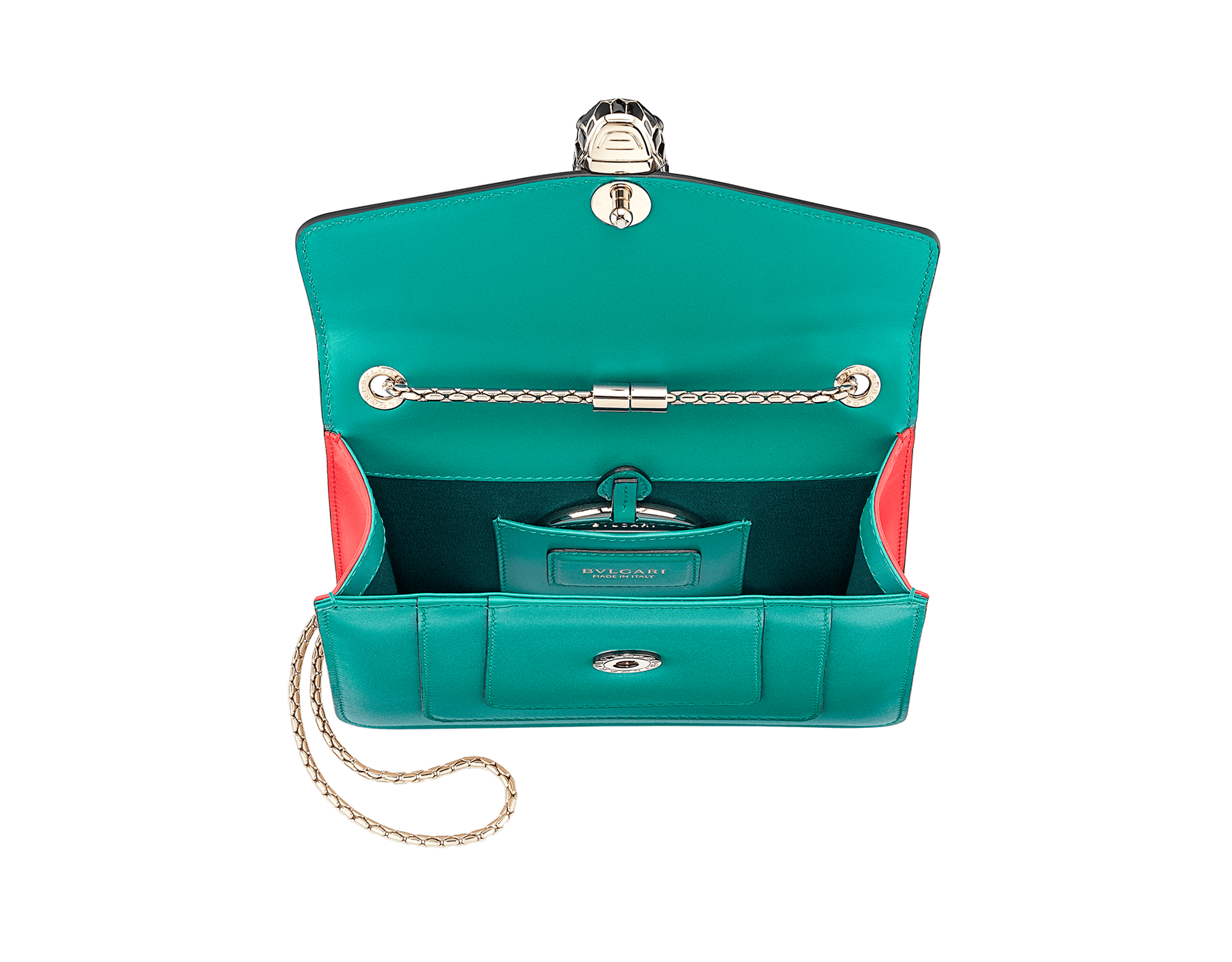 Serpenti Forever crossbody bag in tropical turquoise smooth calf leather body and sea star coral calf leather sides. Snakehead closure in light gold plated brass decorated with tropical turquoise and black enamel, and black onyx eyes. 287958 image 4