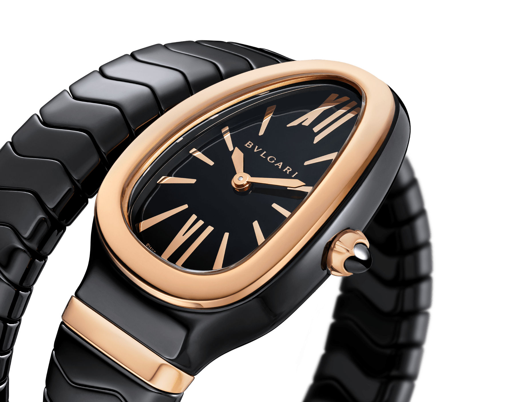 Serpenti Spiga single spiral watch with black ceramic case, 18 kt rose gold bezel, black lacquered dial and black ceramic bracelet set with 18 kt rose gold elements. 102735 image 3
