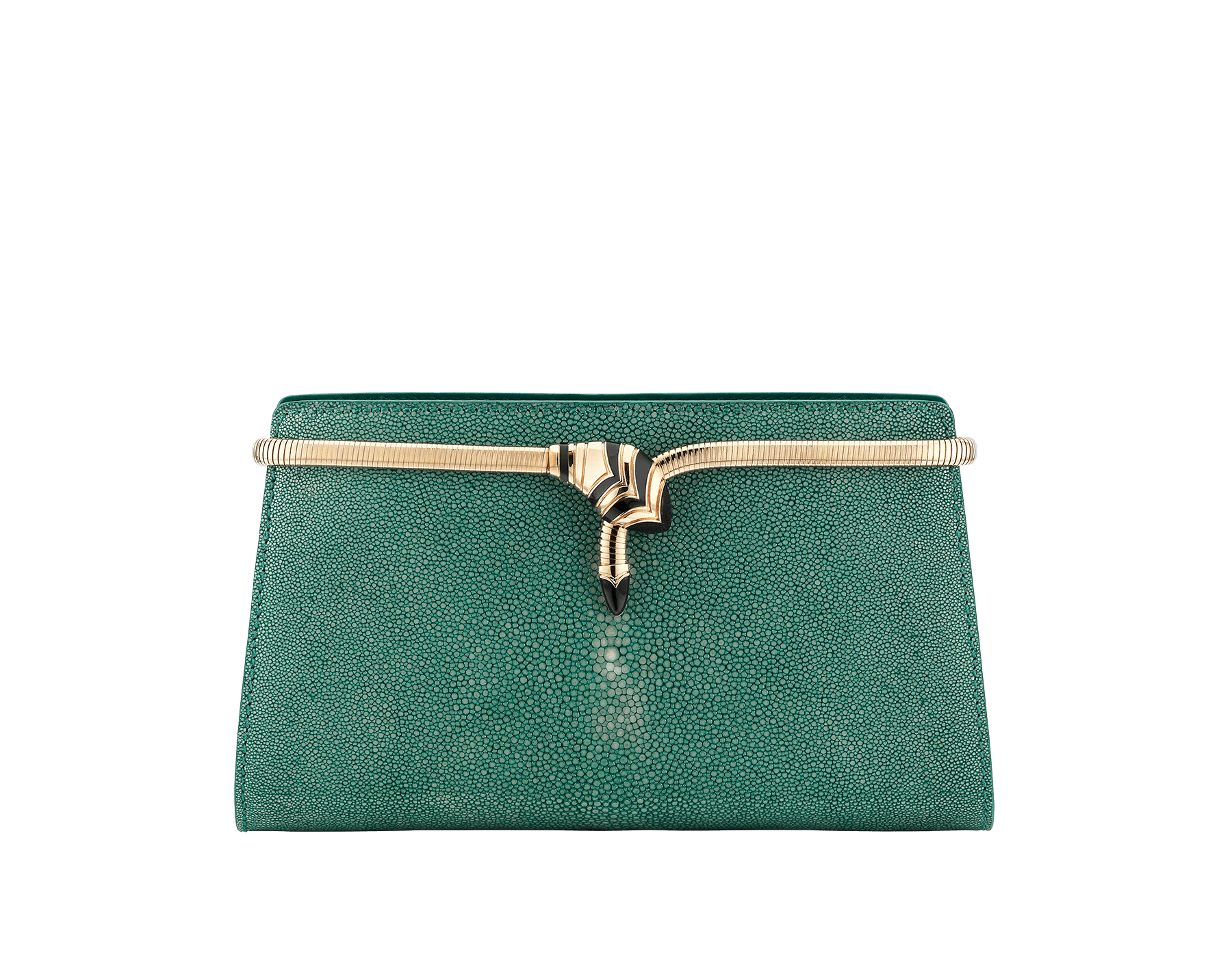 Serpenti Tubogas clutch in green galuchat skin with brass light pink gold plated snake body shaped frame closure with black enamel. 526-001-0671S image 1