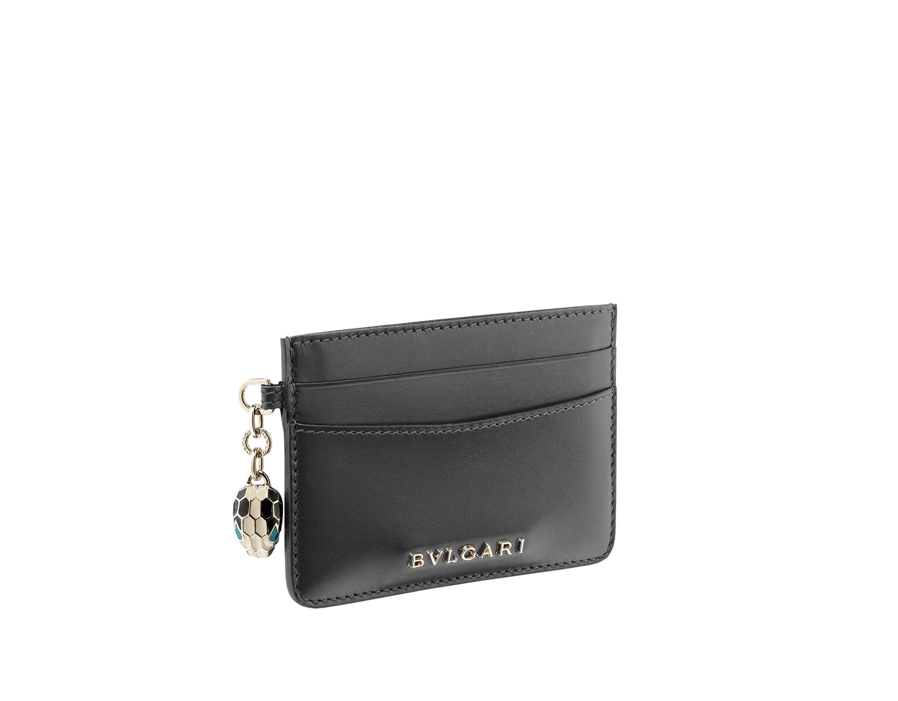 """Serpenti Forever"" card holder in Lavender Amethyst lilac calf leather. Iconic light gold-plated brass snakehead charm, finished with black and white agate enamel, and emerald green enamel eyes. SEA-CC-HOLDER-CLb image 1"