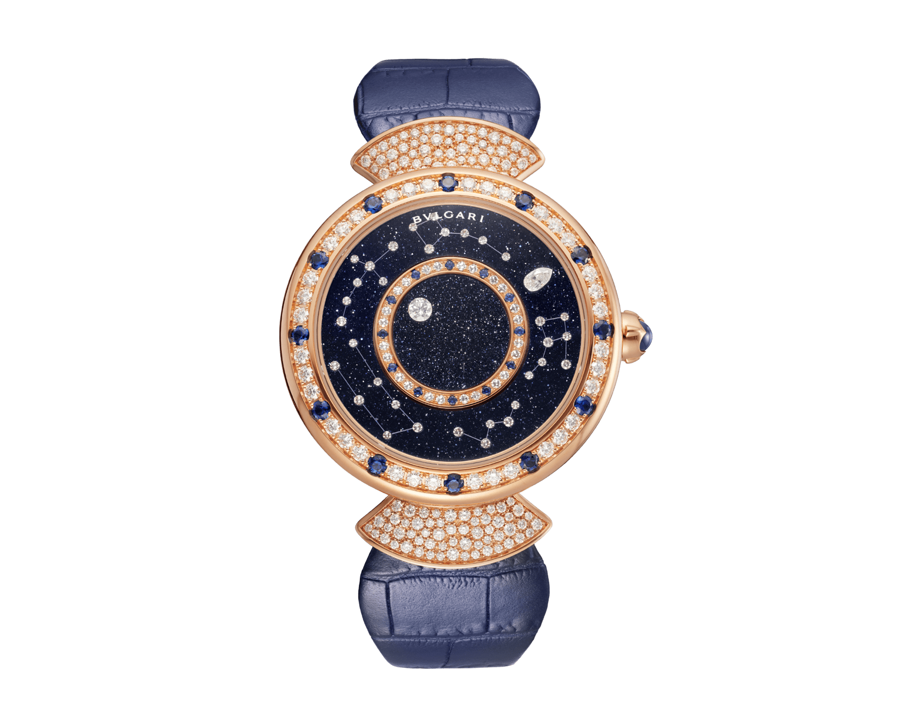 DIVAS' DREAM watch with mechanical manufacture movement, automatic winding, 18 kt rose gold case set with round brilliant-cut diamonds and sapphires, aventurine rotating discs with diamonds and printed constellations and dark blue alligator bracelet 102843 image 1