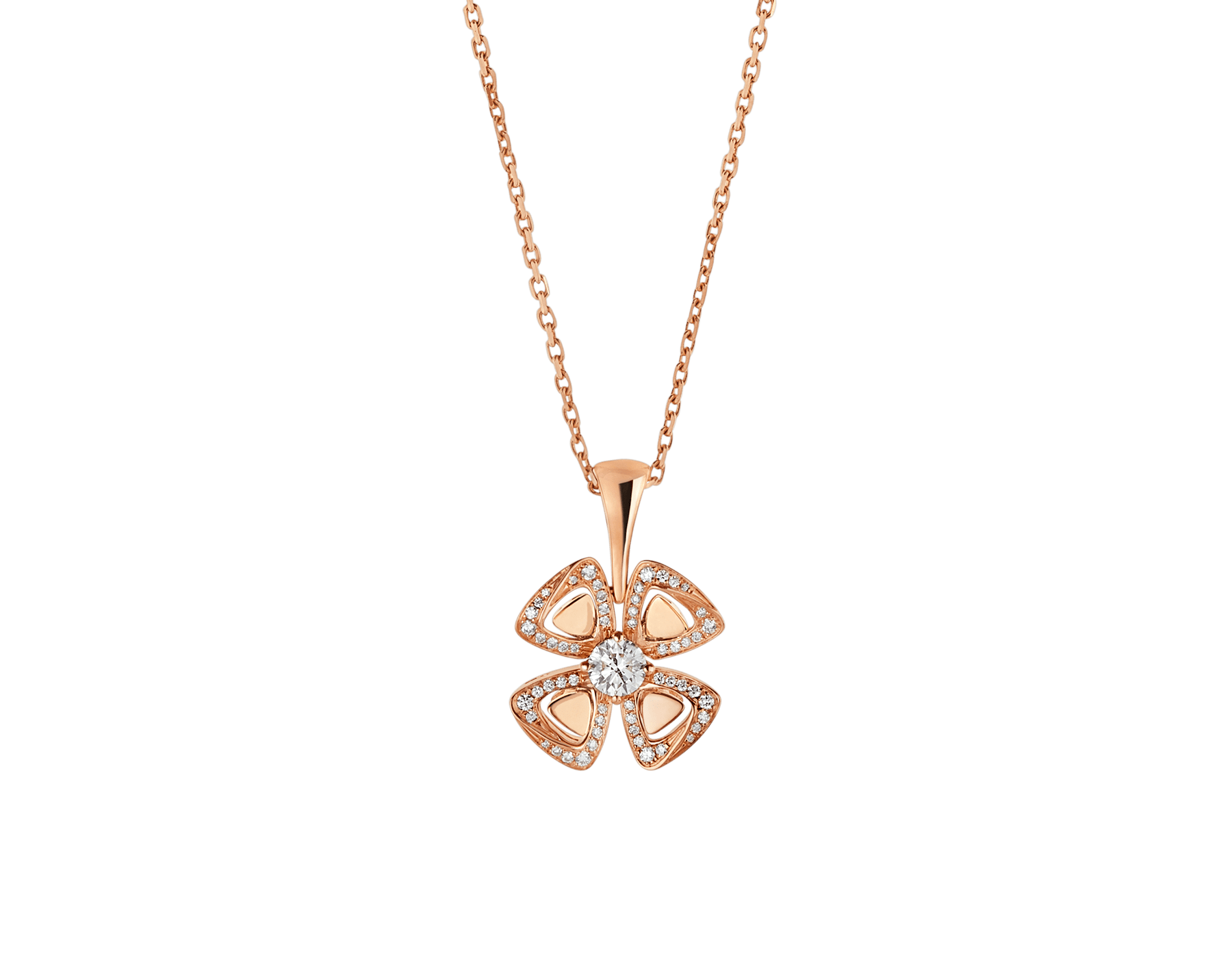 Fiorever 18 kt rose gold necklace set with a central diamond (0.20 ct) and pavé diamonds (0.18 ct) 356223 image 1