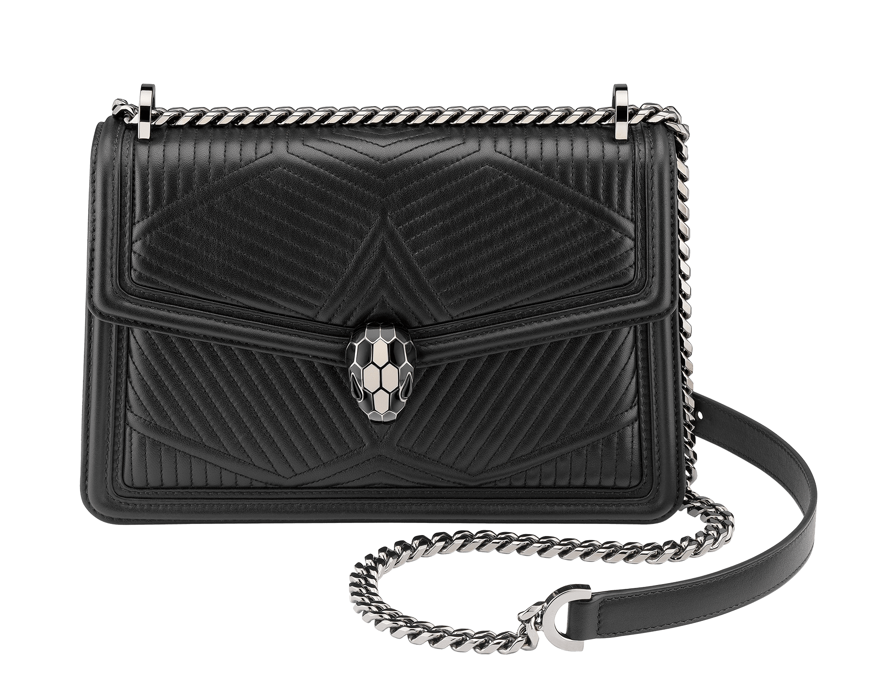 """""""Serpenti Diamond Blast"""" shoulder bag in crystal rose quilted nappa leather body and crystal rose calf leather frames. Iconic snakehead closure in light gold plated brass enriched with black and crystal rose enamel and black onyx eyes 922-FQDa image 1"""