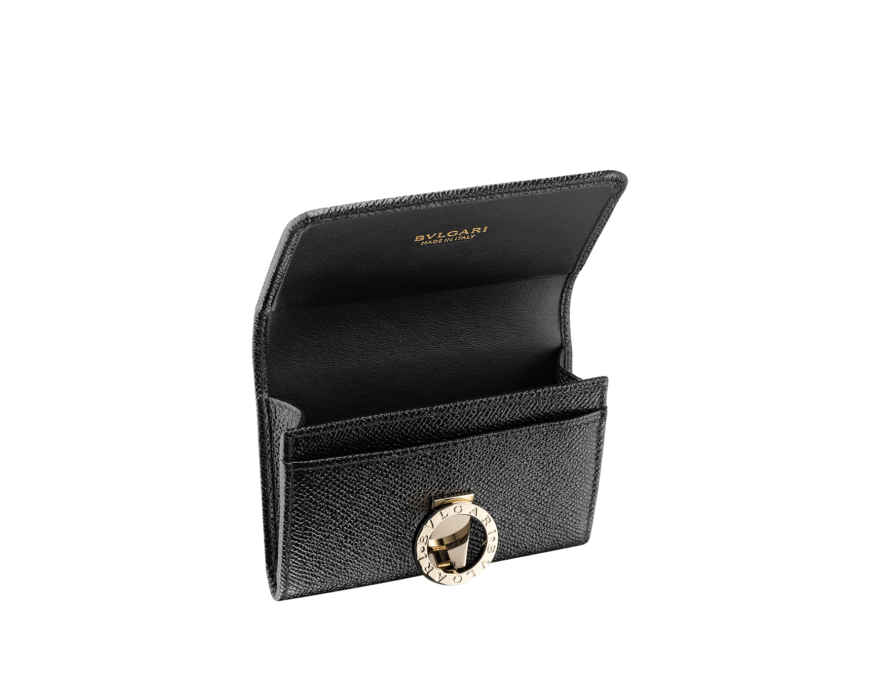 Business card holder in black bright grain calf leather and black nappa lining. Iconic brass light gold plated clip featuring the Bulgari Bulgari motif. 280520 image 2