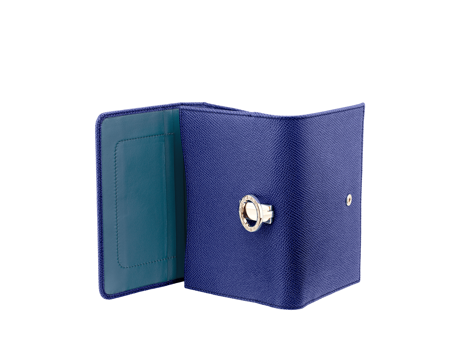 Compact pochette in royal sapphire bright grain calf leather, teal topaz nappa and plum amethyst nappa lining. Brass light gold plated hardware and iconic BVLGARI BVLGARI closure clip. Ten credit card slots, one ID compartment, one bill compartment, one coin pocket with flap, five addictional compartments. Also available in other colours. 14,5 x 10 cm. - 5.7 x 3.9'' 579-COMPPOCHETTE image 3