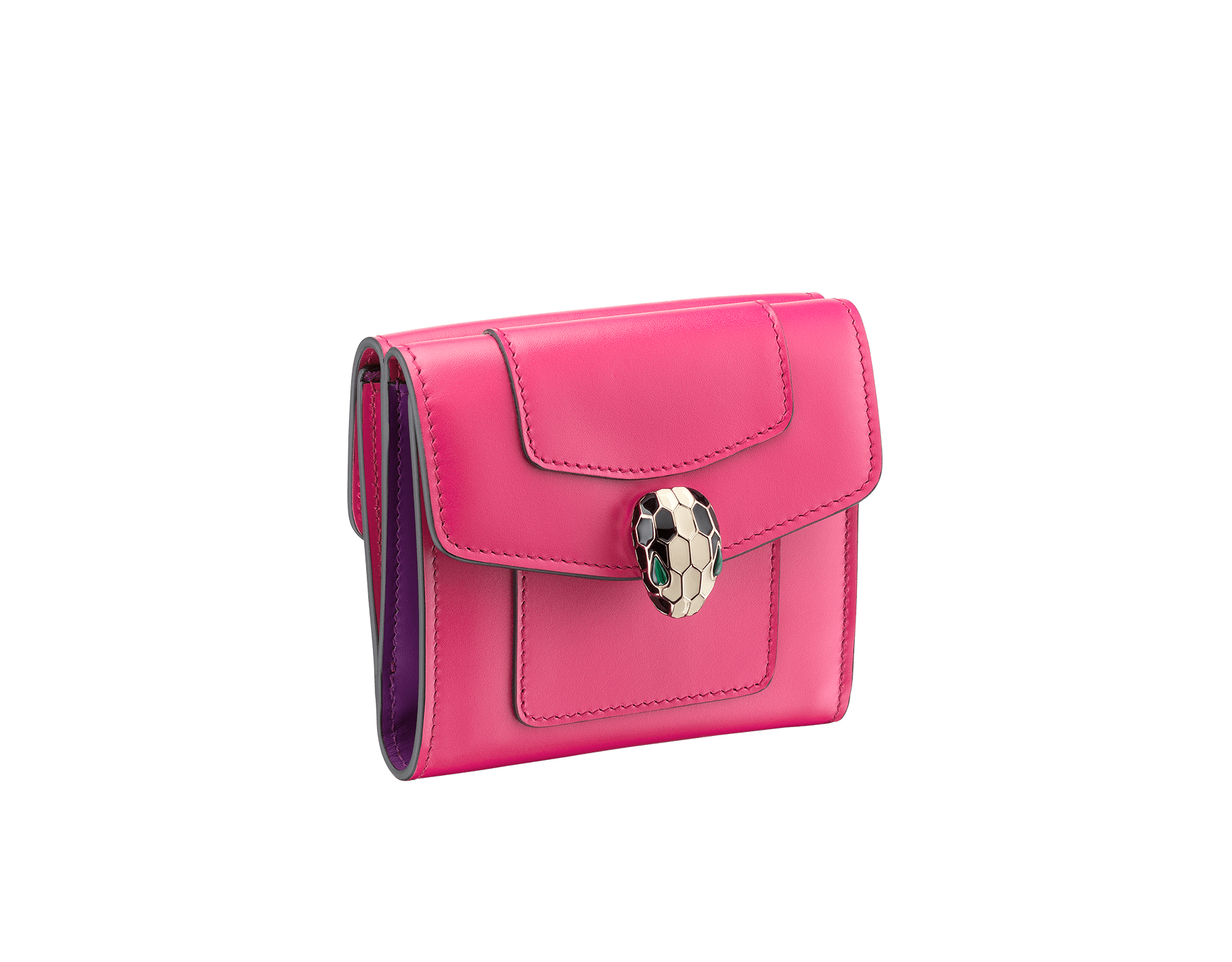Serpenti Forever square compact wallet in jazzy tourmaline and aster amethyst calf leather. Iconic snakehead closure in black and white enamel, with green malachite eyes. 287163 image 1