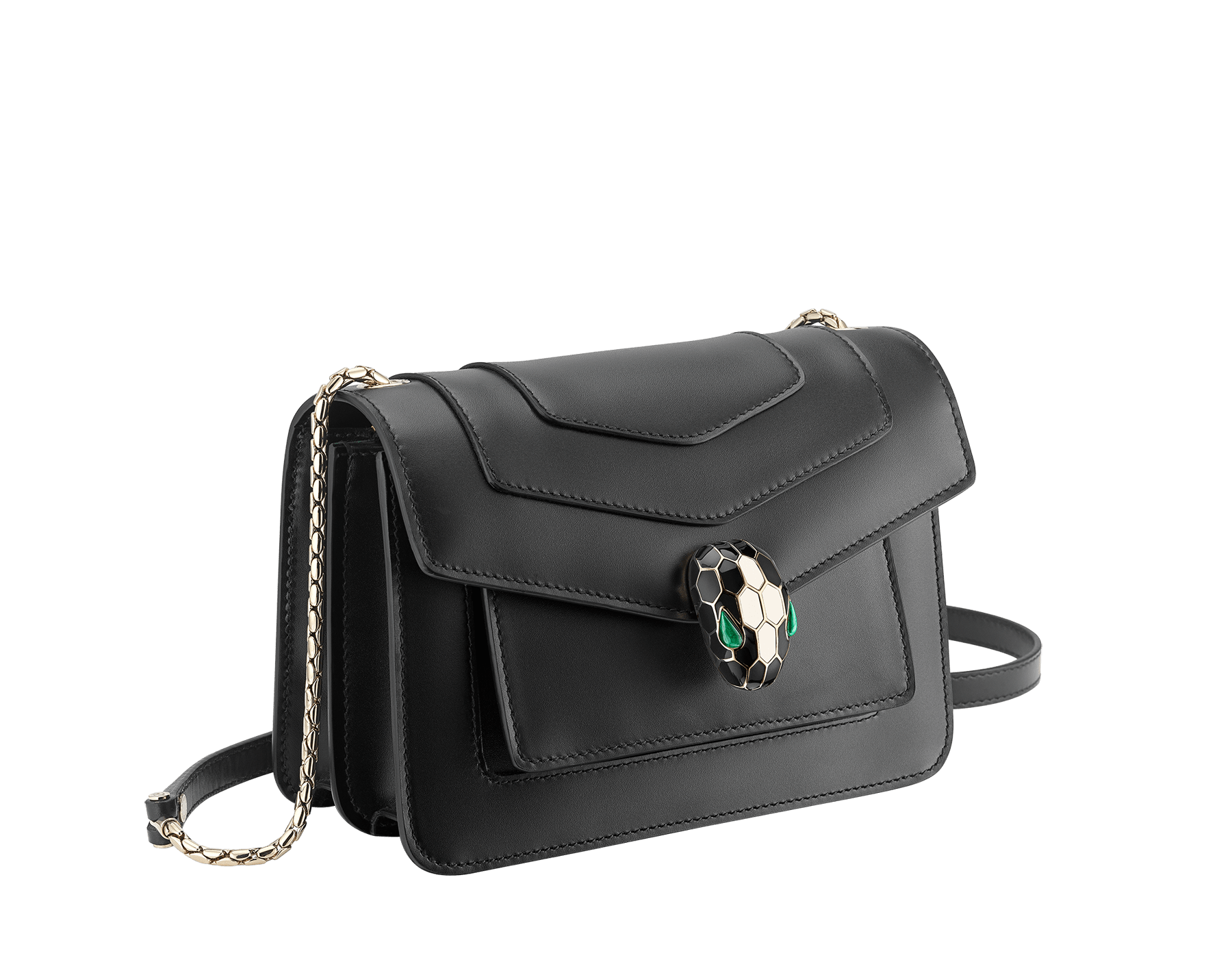 """""""Serpenti Forever"""" crossbody bag in emerald green calf leather. Iconic snake head closure in light gold plated brass enhanced with black and white agate enamel and green malachite eyes. 1082-CLa image 2"""