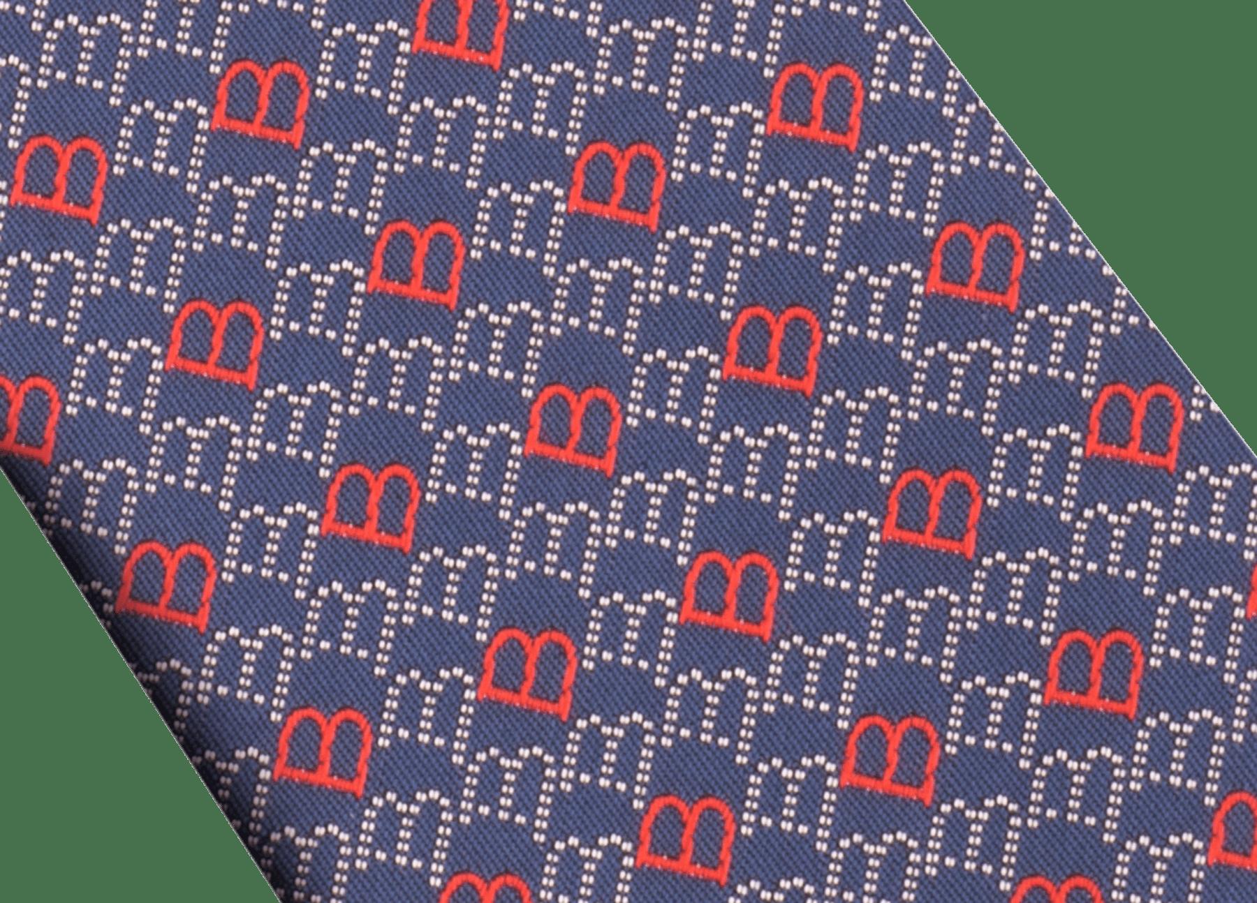 Corbata de siete pliegues azul marino en seda de jacquard fina Logo B Point. 244390 image 2