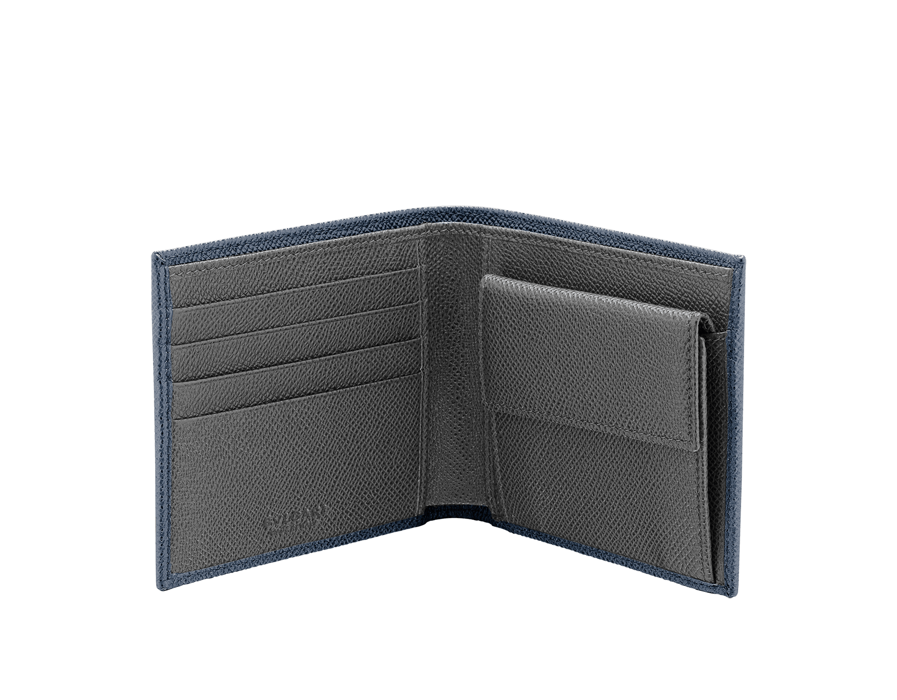 BVLGARI BVLGARI men's wallet in denim sapphire and charcoal diamond grain calf leather and blue slate nappa lining. Iconic logo décor in palladium plated brass. 289112 image 2