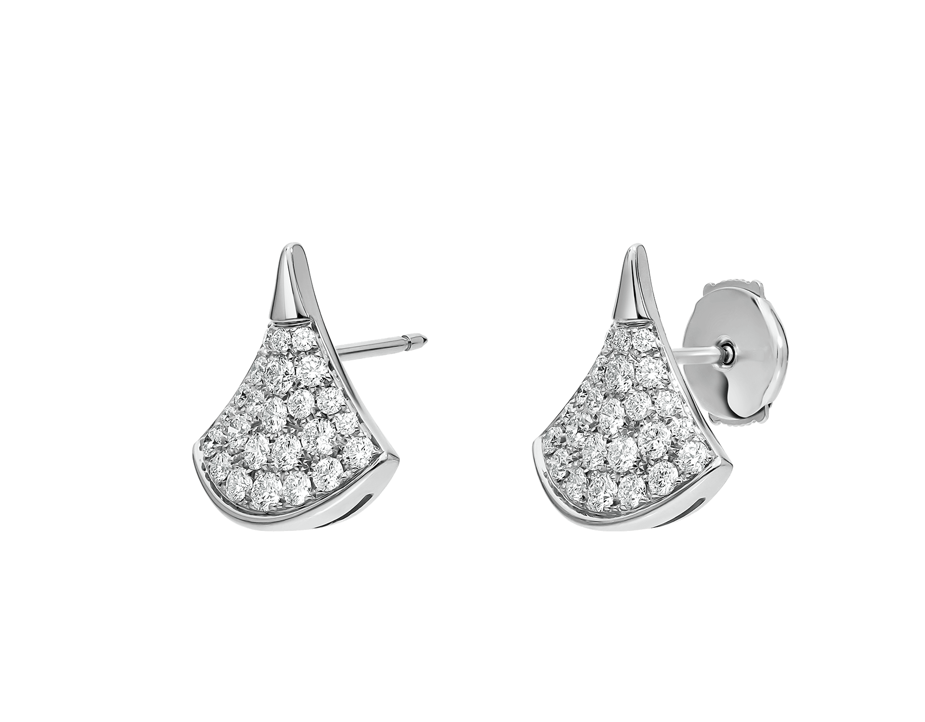 DIVAS' DREAM stud earrings in 18 kt white gold set with pavé diamonds. 352602 image 2