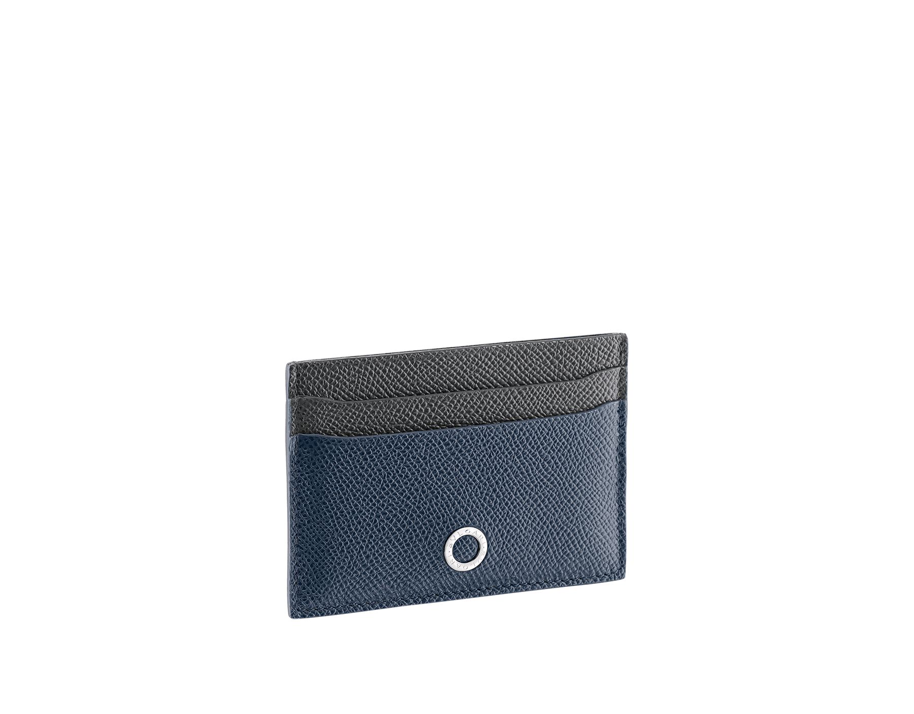 BVLGARI BVLGARI credit card holder in denim sapphire and charcoal diamond grain calf leather and blue slate nappa lining. Iconic logo decoration in palladium-plated brass. 289118 image 1