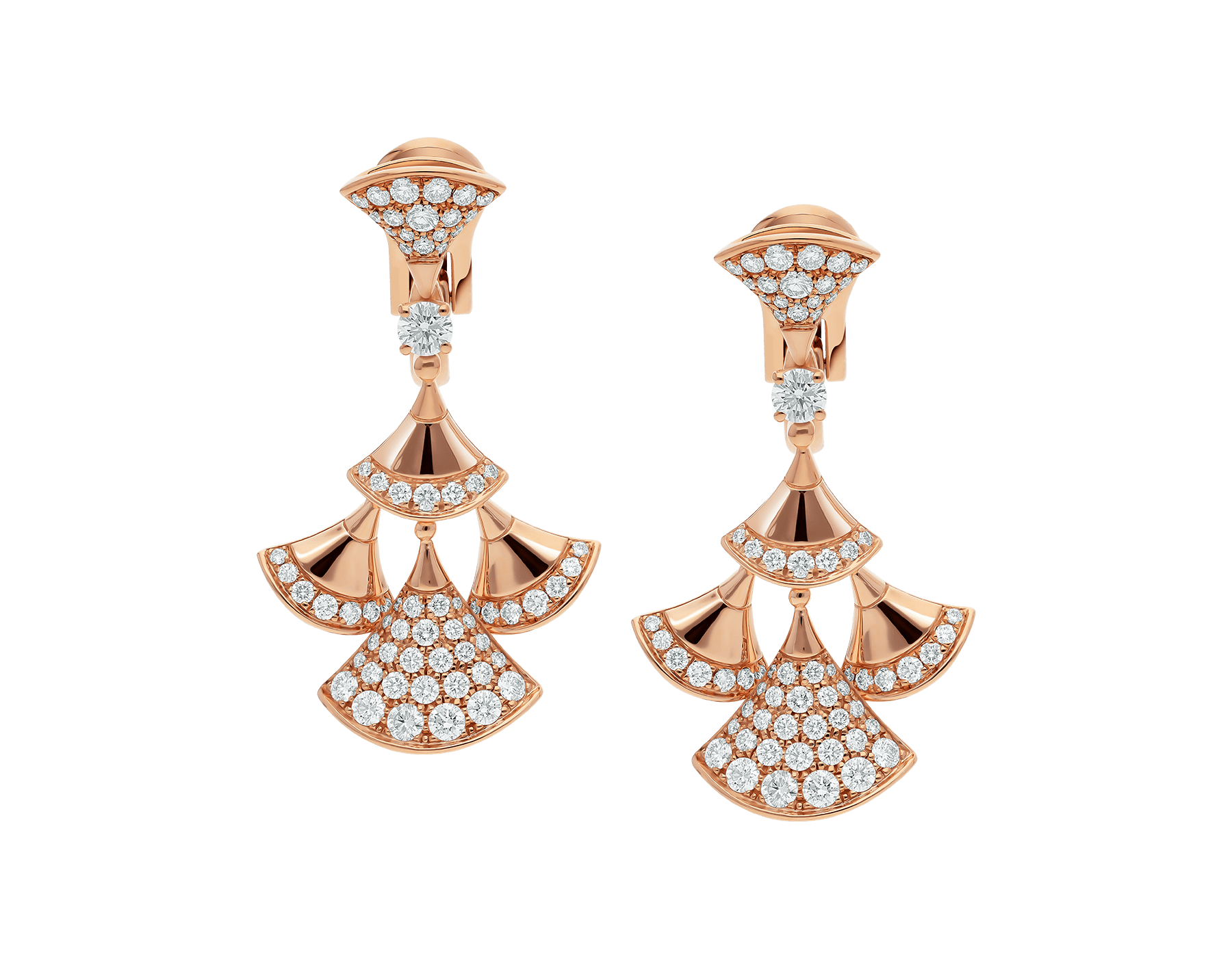 DIVAS' DREAM earrings in 18 kt rose gold set with a diamond and pavé diamonds. 352810 image 1