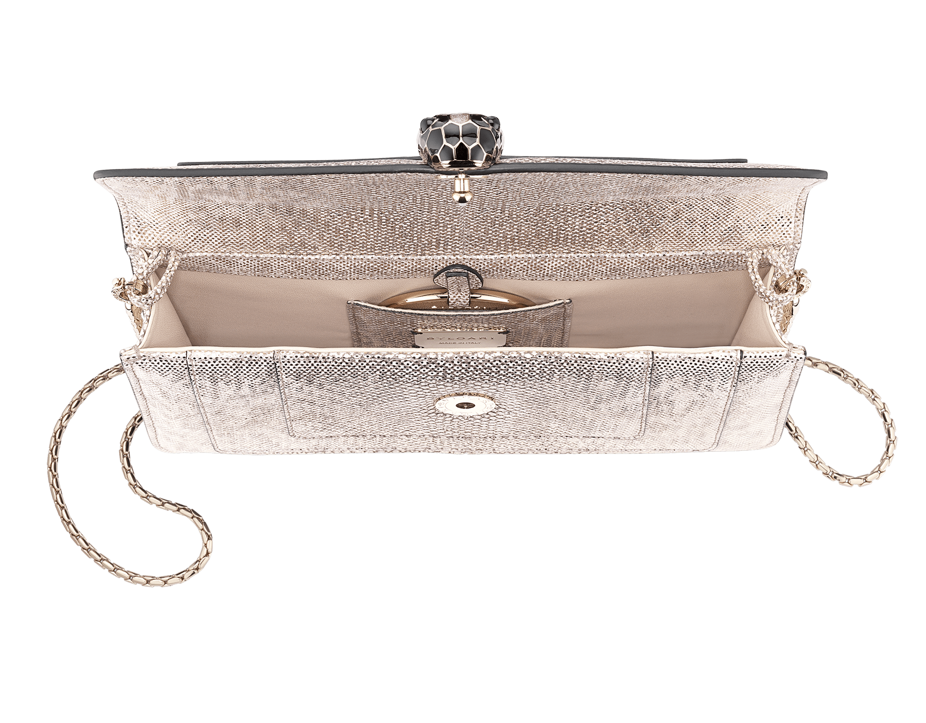 Serpenti Forever shoulder bag in milky opal metallic karung skin. Snakehead closure in light gold plated brass decorated with black and glitter milky opal enamel, and black onyx eyes. 287943 image 4