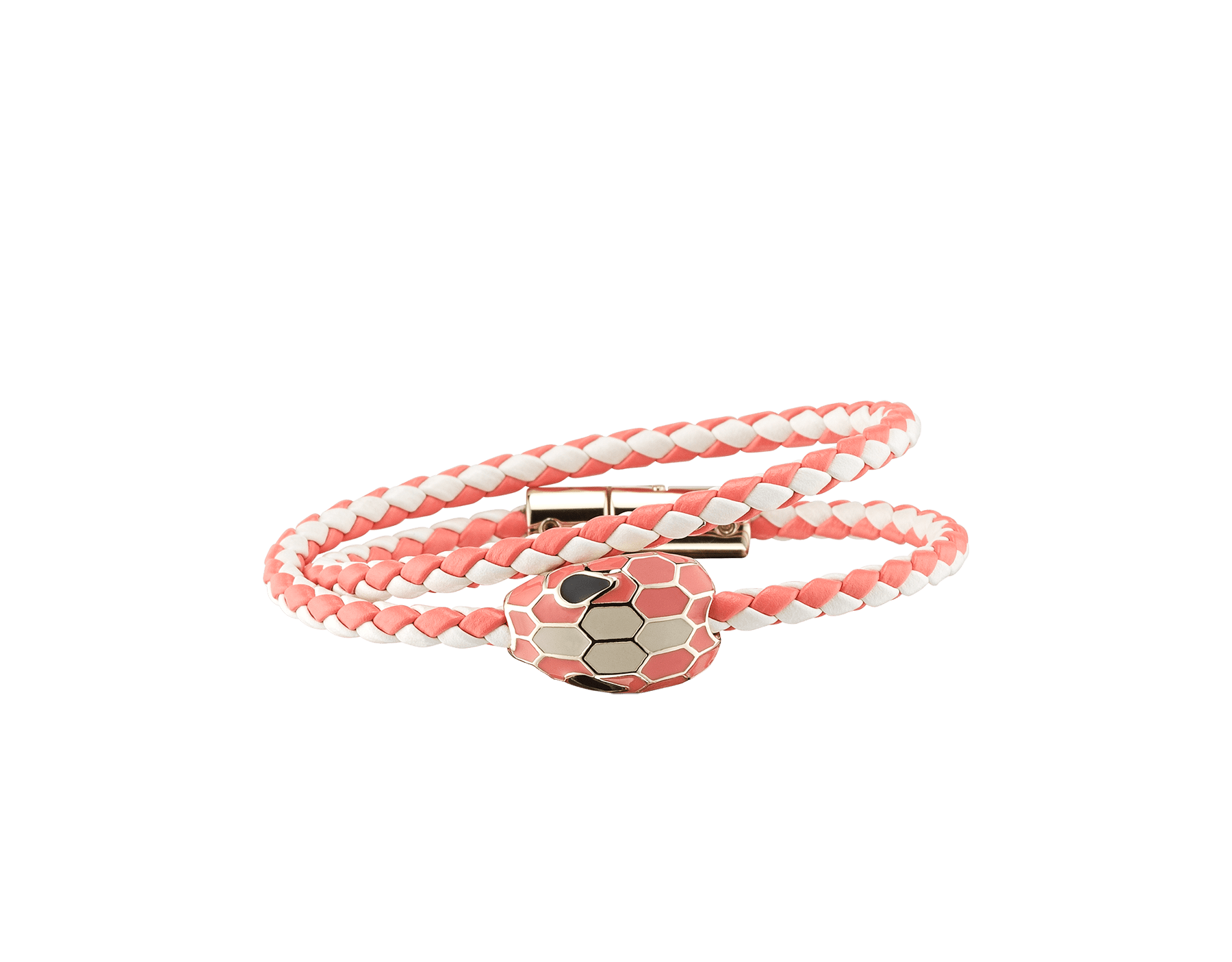 Serpenti Forever multi-coiled braid bracelet in white agate and silky coral woven calf leather, with the iconic snakehead décor in silky coral and white agate enamel. 289170 image 1