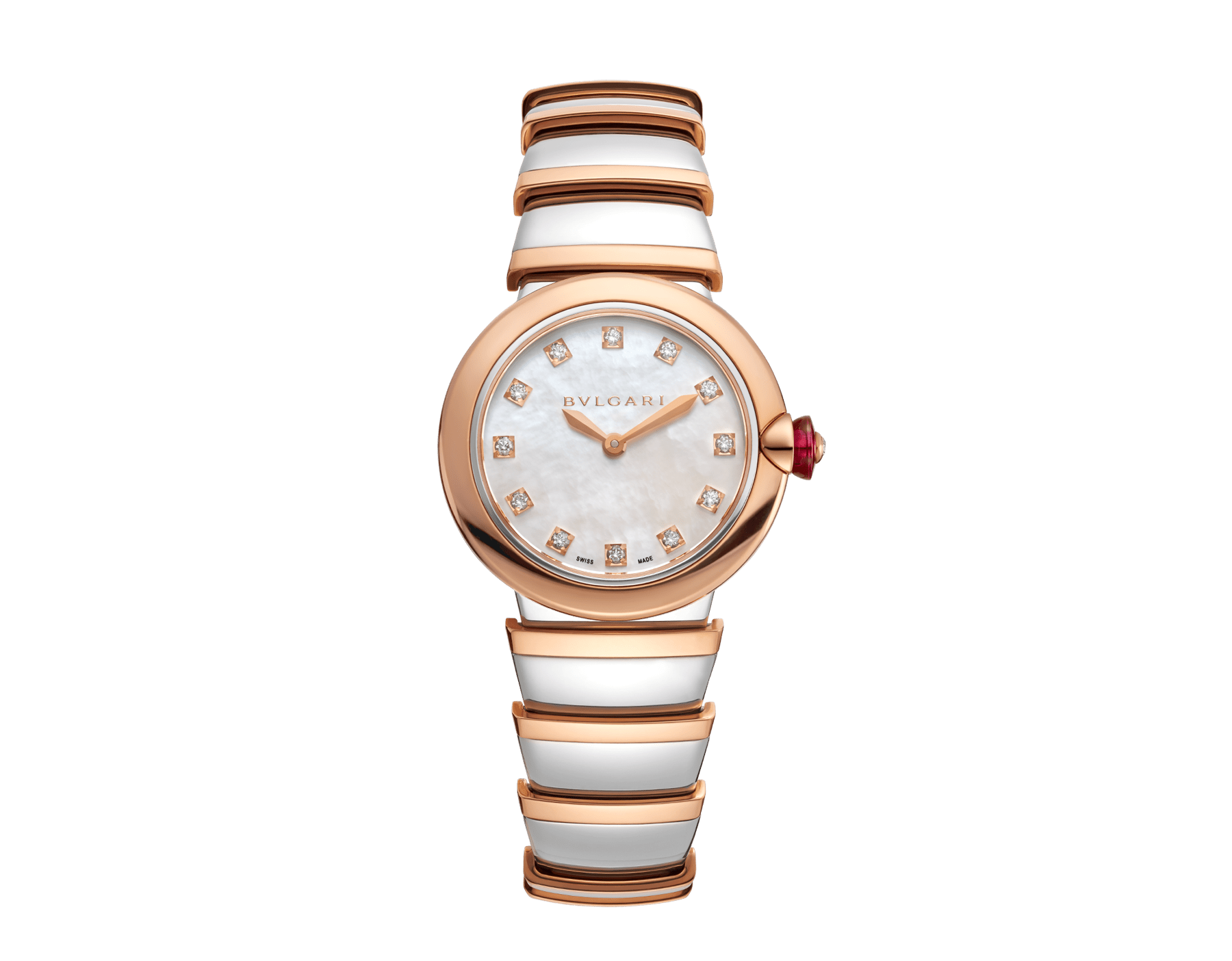 LVCEA watch in 18 kt rose gold and stainless steel case and bracelet, white mother-of-pearl dial and diamond indexes. 102194 image 1