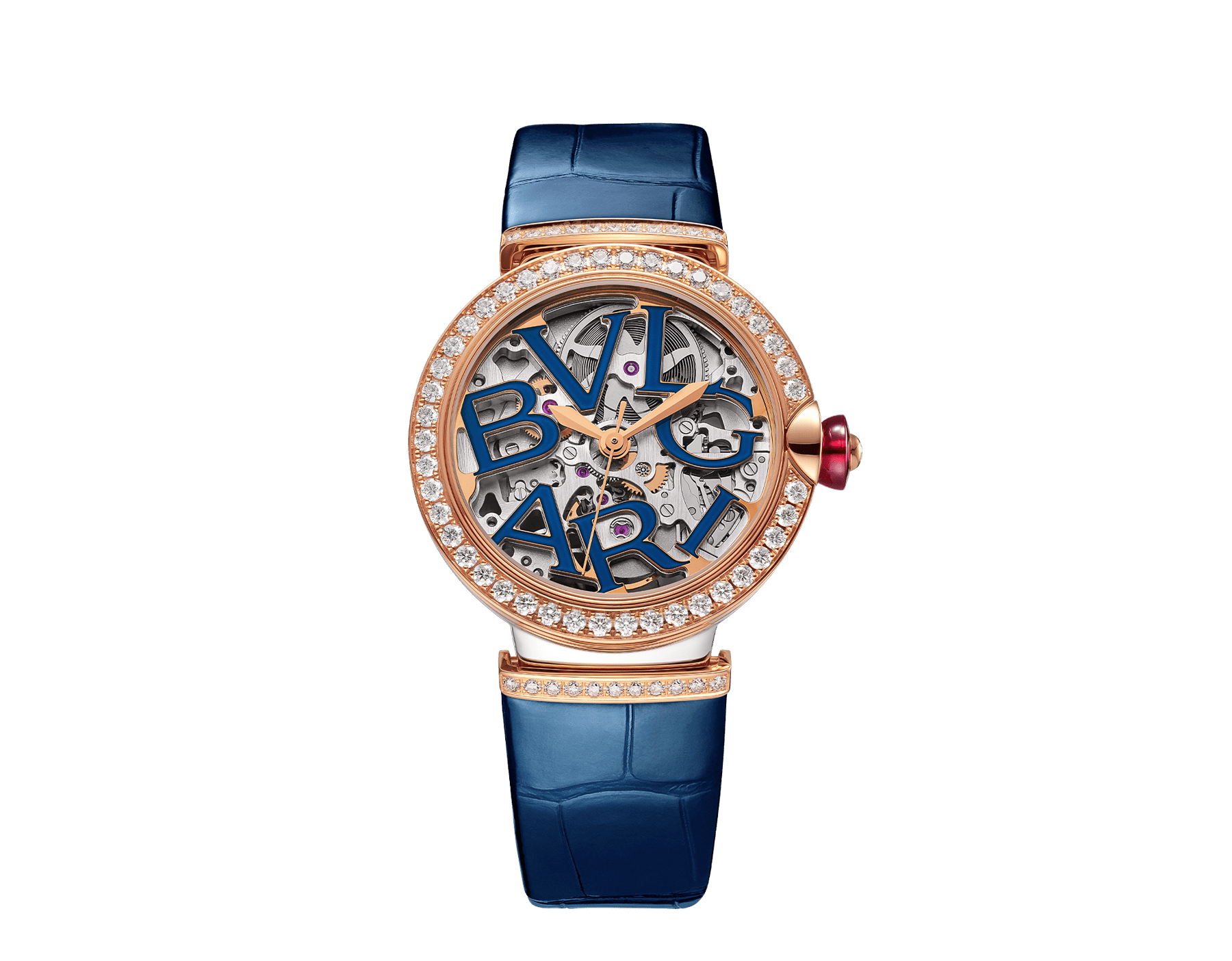 LVCEA Skeleton watch with mechanical manufacture movement, automatic winding and skeleton execution, polished stainless steel case, 18 kt rose gold bezel and links set with diamonds, blue lacquered openwork BVLGARI logo dial and blue alligator bracelet. Water-resistant up to 30 metres 103304 image 1