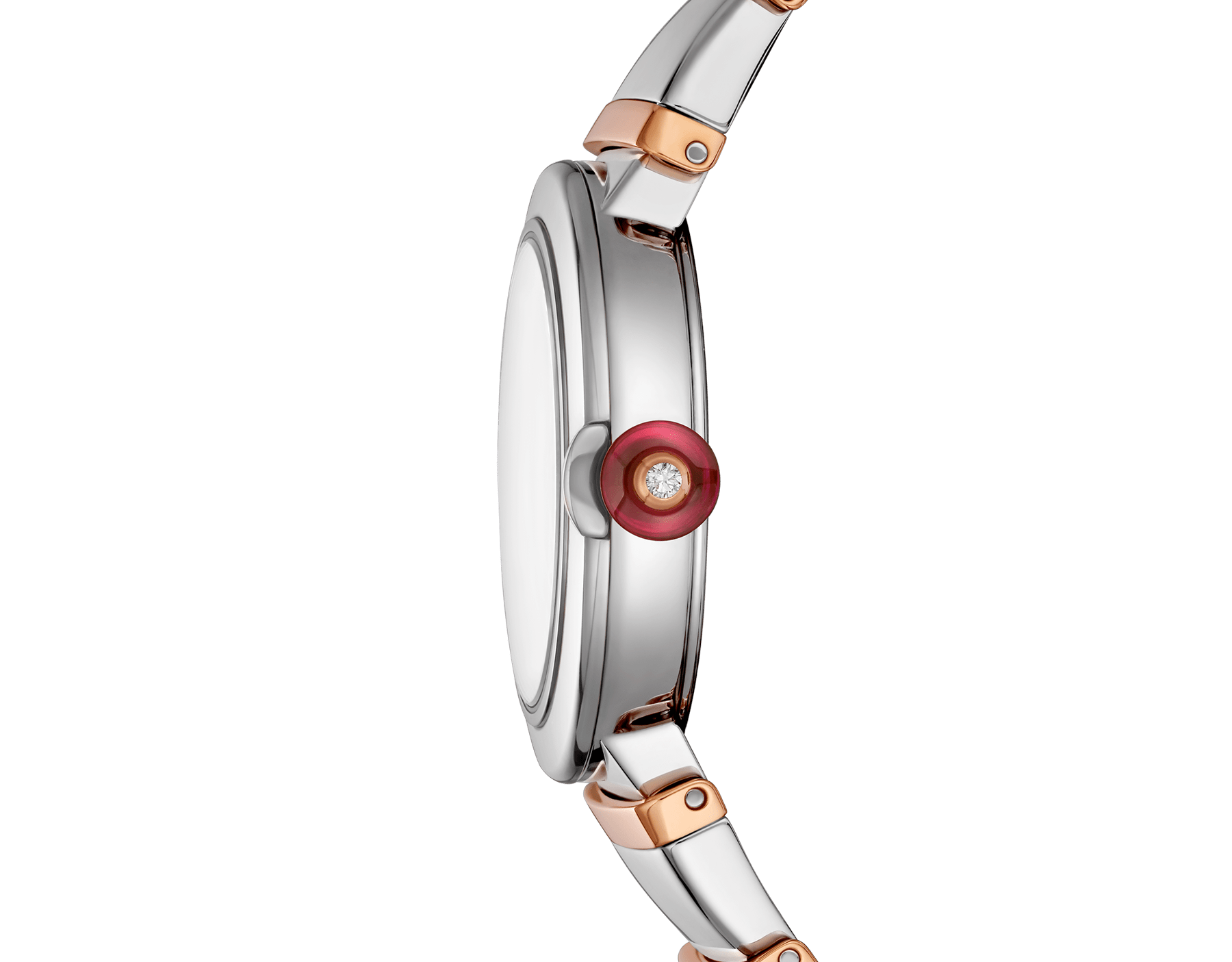 LVCEA watch with stainless steel case, silver opaline dial and bracelet in 18 kt rose gold and stainless steel. 102193 image 3