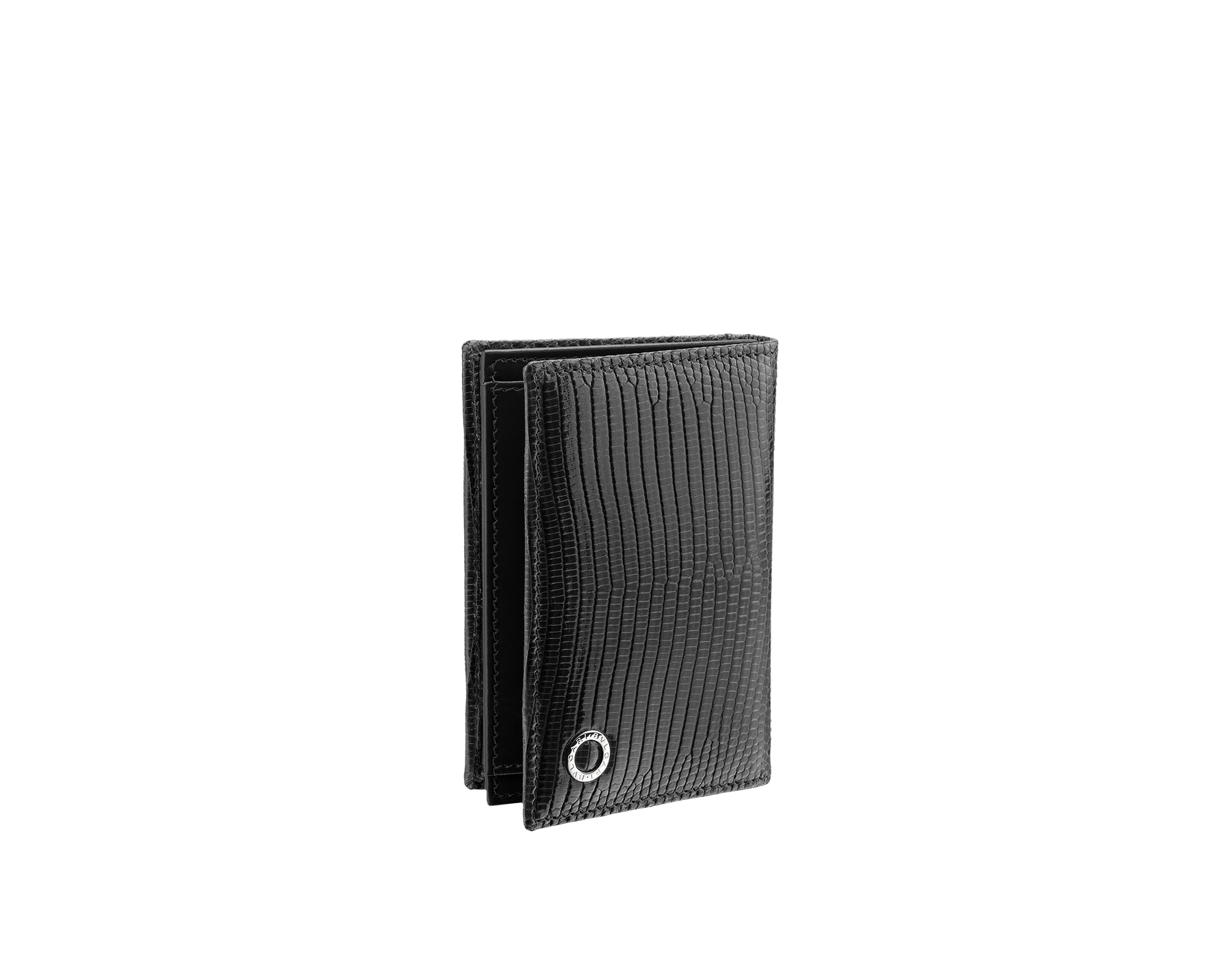 Business card holder in black shiny lizard skin and calf leather with brass palladium plated BVLGARI BVLGARI motif. Three credit card slots, one open pocket and Business cards compartment. 284396 image 1